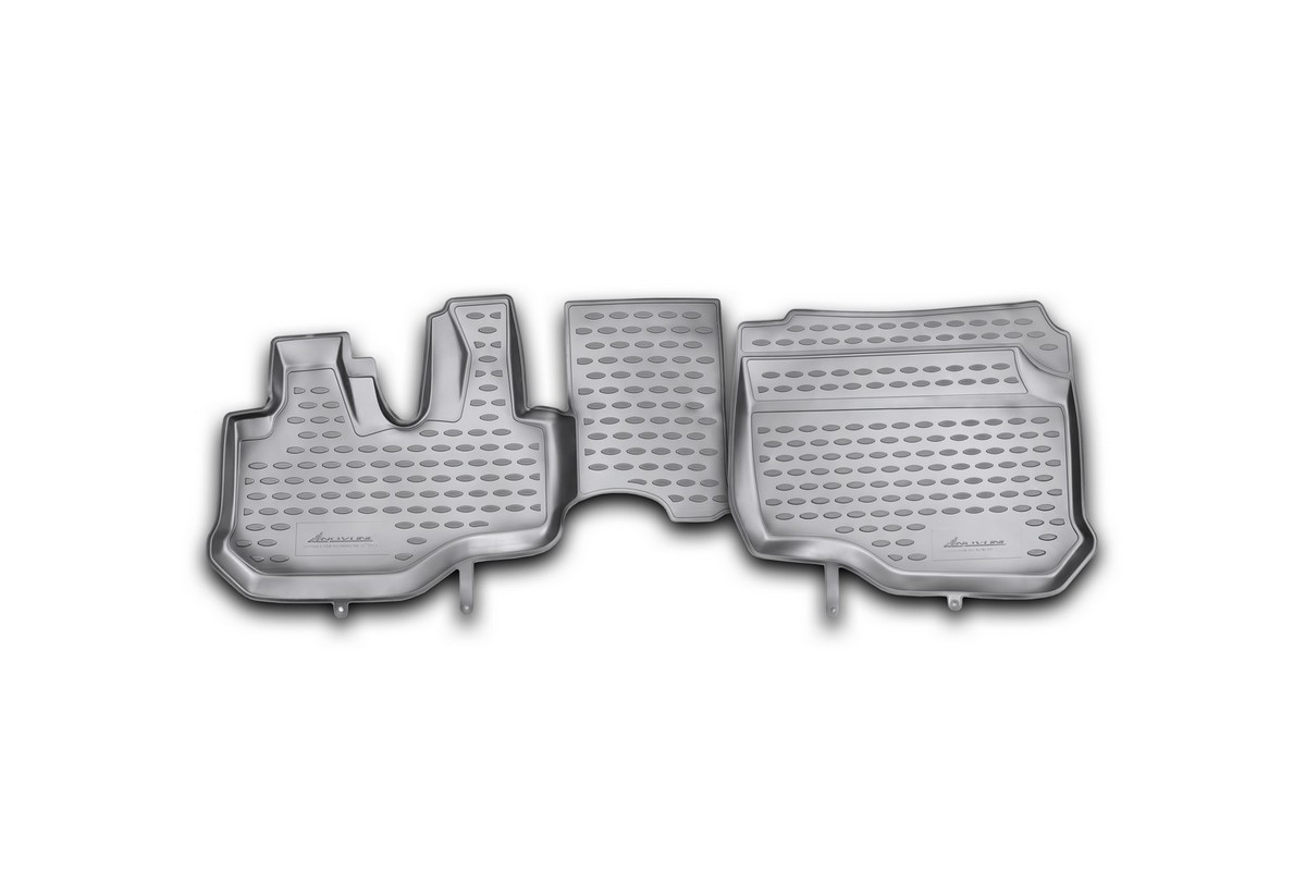 Набор автомобильных ковриков Novline-Autofamily для Hyundai HD 35 2011-, в салон, 2 штВетерок 2ГФНабор автомобильных ковриков Novline-Autofamily, изготовленный из полиуретана, состоит из 2 ковриков, которые учитывают все особенности каждой модели автомобиля и полностью повторяют контуры пола. Полиуретановые автомобильные коврики для салона произведены из высококачественного материала, который держит форму, прочный и не пачкает обувь. Коврики в салон не только улучшат внешний вид салона вашего автомобиля, но и надежно уберегут его от пыли, грязи и сырости, а значит, защитят кузов от коррозии. Полиуретановые коврики для автомобиля гладкие, приятные и не пропускают влагу. Ковры для автомобилей надежно крепятся на полу и не скользят, что очень важно во время движения. Чистятся коврики очень просто: как при помощи автомобильного пылесоса, так и различными моющими средствами. Набор подходит для Hyundai HD 35 с 2011 года выпуска.