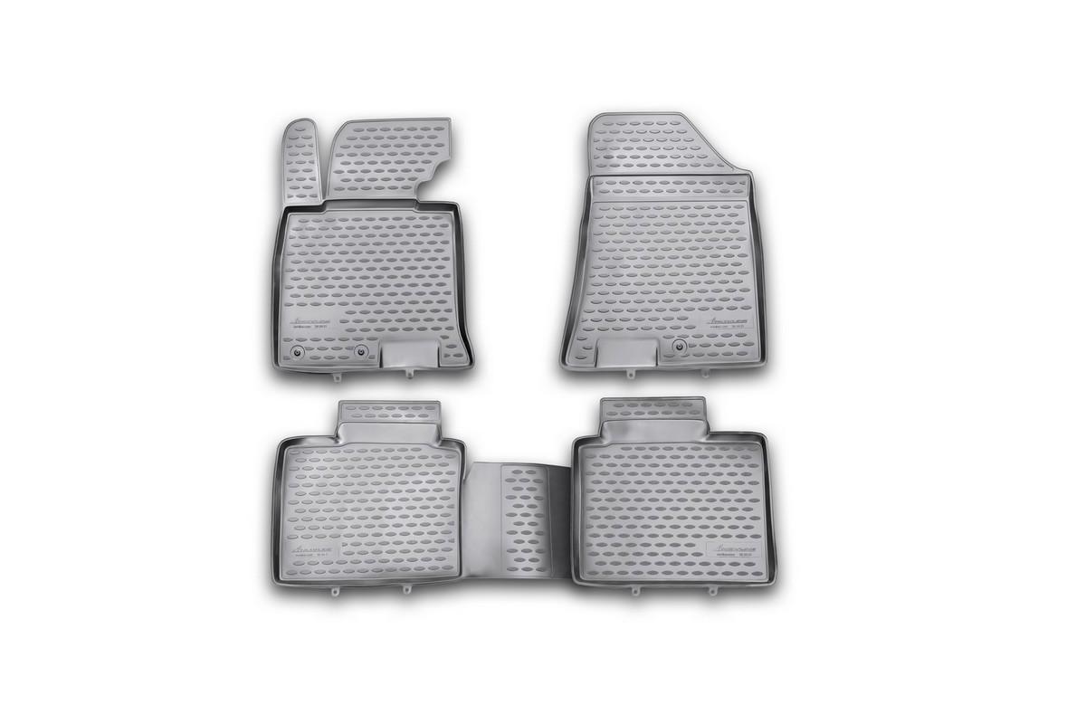 Набор автомобильных ковриков Novline-Autofamily для Hyundai i 40 2012-, в салон, цвет: черный, 4 штNLED-420-1.5W-RНабор автомобильных ковриков Novline-Autofamily, изготовленный из полиуретана, состоит из 4 ковриков, которые учитывают все особенности каждой модели автомобиля и полностью повторяют контуры пола. Полиуретановые автомобильные коврики для салона произведены из высококачественного материала, который держит форму, прочный и не пачкает обувь. Коврики в салон не только улучшат внешний вид салона вашего автомобиля, но и надежно уберегут его от пыли, грязи и сырости, а значит, защитят кузов от коррозии. Полиуретановые коврики для автомобиля гладкие, приятные и не пропускают влагу. Ковры для автомобилей надежно крепятся на полу и не скользят, что очень важно во время движения. Чистятся коврики очень просто: как при помощи автомобильного пылесоса, так и различными моющими средствами. Набор подходит для Hyundai i 40 с 2012 года выпуска.
