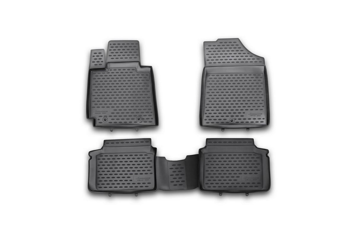 Набор автомобильных ковриков Novline-Autofamily для Hyundai Veloster 2012-, в салон, 4 штВетерок 2ГФНабор автомобильных ковриков Novline-Autofamily, изготовленный из полиуретана, состоит из 4 ковриков, которые учитывают все особенности каждой модели автомобиля и полностью повторяют контуры пола. Полиуретановые автомобильные коврики для салона произведены из высококачественного материала, который держит форму, прочный и не пачкает обувь. Коврики в салон не только улучшат внешний вид салона вашего автомобиля, но и надежно уберегут его от пыли, грязи и сырости, а значит, защитят кузов от коррозии. Полиуретановые коврики для автомобиля гладкие, приятные и не пропускают влагу. Ковры для автомобилей надежно крепятся на полу и не скользят, что очень важно во время движения. Чистятся коврики очень просто: как при помощи автомобильного пылесоса, так и различными моющими средствами. Набор подходит для Hyundai Veloster c 2012 года выпуска.
