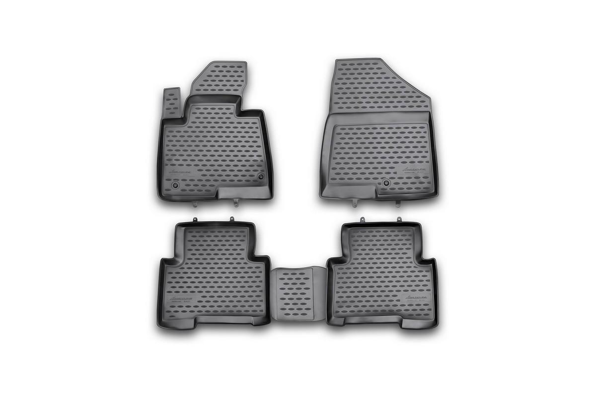 Набор автомобильных ковриков Novline-Autofamily для Hyundai Santa Fe 2012-, в салон, 4 штВетерок 2ГФНабор автомобильных ковриков Novline-Autofamily, изготовленный из полиуретана, состоит из 4 ковриков, которые учитывают все особенности каждой модели автомобиля и полностью повторяют контуры пола. Полиуретановые автомобильные коврики для салона произведены из высококачественного материала, который держит форму, прочный и не пачкает обувь. Коврики в салон не только улучшат внешний вид салона вашего автомобиля, но и надежно уберегут его от пыли, грязи и сырости, а значит, защитят кузов от коррозии. Полиуретановые коврики для автомобиля гладкие, приятные и не пропускают влагу. Ковры для автомобилей надежно крепятся на полу и не скользят, что очень важно во время движения. Чистятся коврики очень просто: как при помощи автомобильного пылесоса, так и различными моющими средствами. Набор подходит для Hyundai Santa Fe с 2012 года выпуска.