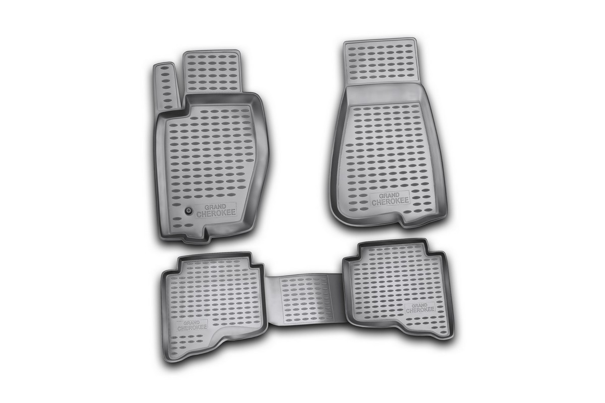 Набор автомобильных ковриков Novline-Autofamily для Jeep Grand Cherokee 01/2006-2011, в салон, 4 шт54 009318Набор автомобильных ковриков Novline-Autofamily, изготовленный из полиуретана, состоит из 4 ковриков, которые учитывают все особенности каждой модели автомобиля и полностью повторяют контуры пола. Полиуретановые автомобильные коврики для салона произведены из высококачественного материала, который держит форму, прочный и не пачкает обувь. Коврики в салон не только улучшат внешний вид салона вашего автомобиля, но и надежно уберегут его от пыли, грязи и сырости, а значит, защитят кузов от коррозии. Полиуретановые коврики для автомобиля гладкие, приятные и не пропускают влагу. Ковры для автомобилей надежно крепятся на полу и не скользят, что очень важно во время движения. Чистятся коврики очень просто: как при помощи автомобильного пылесоса, так и различными моющими средствами. Набор подходит для Jeep Grand Cherokee январь 2006-2011 годов выпуска.