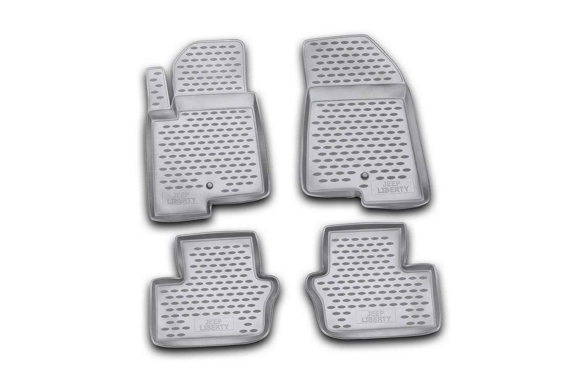 Набор автомобильных ковриков Novline-Autofamily для Jeep Liberty 2007-, в салон, 4 шт21395599Набор автомобильных ковриков Novline-Autofamily, изготовленный из полиуретана, состоит из 4 ковриков, которые учитывают все особенности каждой модели автомобиля и полностью повторяют контуры пола. Полиуретановые автомобильные коврики для салона произведены из высококачественного материала, который держит форму, прочный и не пачкает обувь. Коврики в салон не только улучшат внешний вид салона вашего автомобиля, но и надежно уберегут его от пыли, грязи и сырости, а значит, защитят кузов от коррозии. Полиуретановые коврики для автомобиля гладкие, приятные и не пропускают влагу. Ковры для автомобилей надежно крепятся на полу и не скользят, что очень важно во время движения. Чистятся коврики очень просто: как при помощи автомобильного пылесоса, так и различными моющими средствами. Набор подходит для Jeep Liberty с 2007 года выпуска.