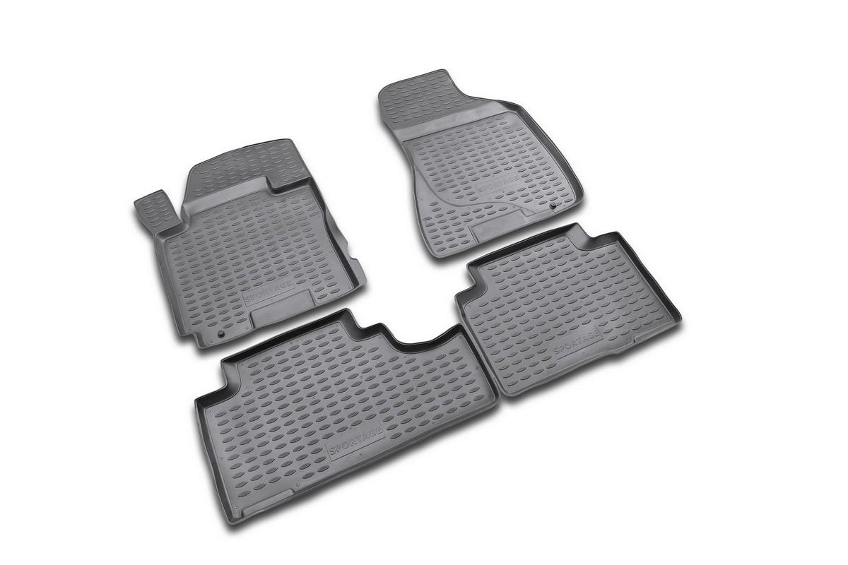 Набор автомобильных ковриков Novline-Autofamily для Kia Sportage 2006-, в салон, 4 шт. NLC.25.04.210CARLD00001kНабор автомобильных ковриков Novline-Autofamily, изготовленный из полиуретана, состоит из 4 ковриков, которые учитывают все особенности каждой модели автомобиля и полностью повторяют контуры пола. Полиуретановые автомобильные коврики для салона произведены из высококачественного материала, который держит форму, прочный и не пачкает обувь. Коврики в салон не только улучшат внешний вид салона вашего автомобиля, но и надежно уберегут его от пыли, грязи и сырости, а значит, защитят кузов от коррозии. Полиуретановые коврики для автомобиля гладкие, приятные и не пропускают влагу. Ковры для автомобилей надежно крепятся на полу и не скользят, что очень важно во время движения. Чистятся коврики очень просто: как при помощи автомобильного пылесоса, так и различными моющими средствами. Набор подходит для Kia Sportage c 2006 года выпуска.