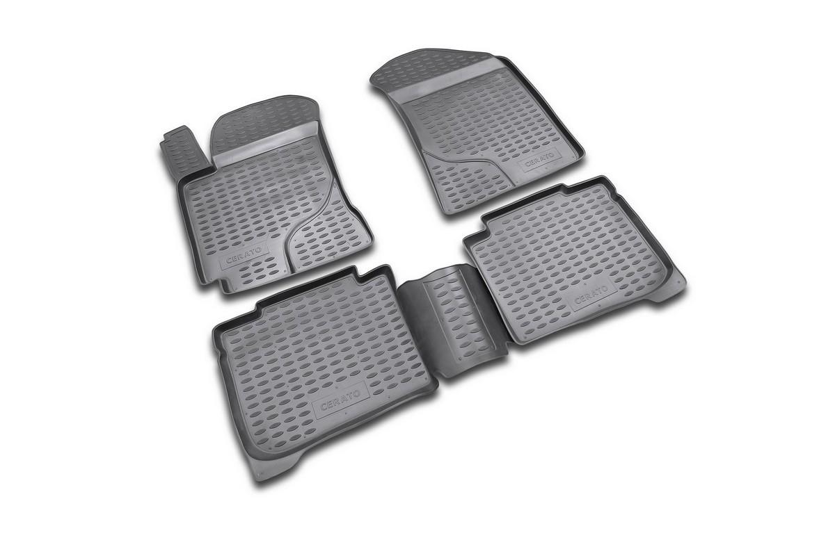 Набор автомобильных ковриков Novline-Autofamily для Kia Cerato 2004-2009, в салон, 4 шт. NLC.25.11.210300151_темно-розовыйНабор автомобильных ковриков Novline-Autofamily, изготовленный из полиуретана, состоит из 4 ковриков, которые учитывают все особенности каждой модели автомобиля и полностью повторяют контуры пола. Полиуретановые автомобильные коврики для салона произведены из высококачественного материала, который держит форму, прочный и не пачкает обувь. Коврики в салон не только улучшат внешний вид салона вашего автомобиля, но и надежно уберегут его от пыли, грязи и сырости, а значит, защитят кузов от коррозии. Полиуретановые коврики для автомобиля гладкие, приятные и не пропускают влагу. Ковры для автомобилей надежно крепятся на полу и не скользят, что очень важно во время движения. Чистятся коврики очень просто: как при помощи автомобильного пылесоса, так и различными моющими средствами. Набор подходит для Kia Cerato 2004-2009 годов выпуска.