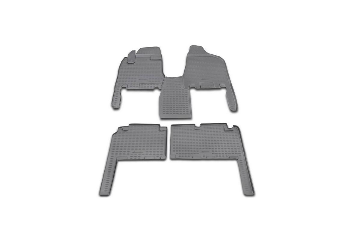 Набор автомобильных ковриков Novline-Autofamily для Kia Carnival АКПП 2006-, в салон, 4 шт. NLC.25.16.21021395598Набор автомобильных ковриков Novline-Autofamily, изготовленный из полиуретана, состоит из 4 ковриков, которые учитывают все особенности каждой модели автомобиля и полностью повторяют контуры пола. Полиуретановые автомобильные коврики для салона произведены из высококачественного материала, который держит форму, прочный и не пачкает обувь. Коврики в салон не только улучшат внешний вид салона вашего автомобиля, но и надежно уберегут его от пыли, грязи и сырости, а значит, защитят кузов от коррозии. Полиуретановые коврики для автомобиля гладкие, приятные и не пропускают влагу. Ковры для автомобилей надежно крепятся на полу и не скользят, что очень важно во время движения. Чистятся коврики очень просто: как при помощи автомобильного пылесоса, так и различными моющими средствами. Набор подходит для Kia Carnival АКПП с 2006 года выпуска.