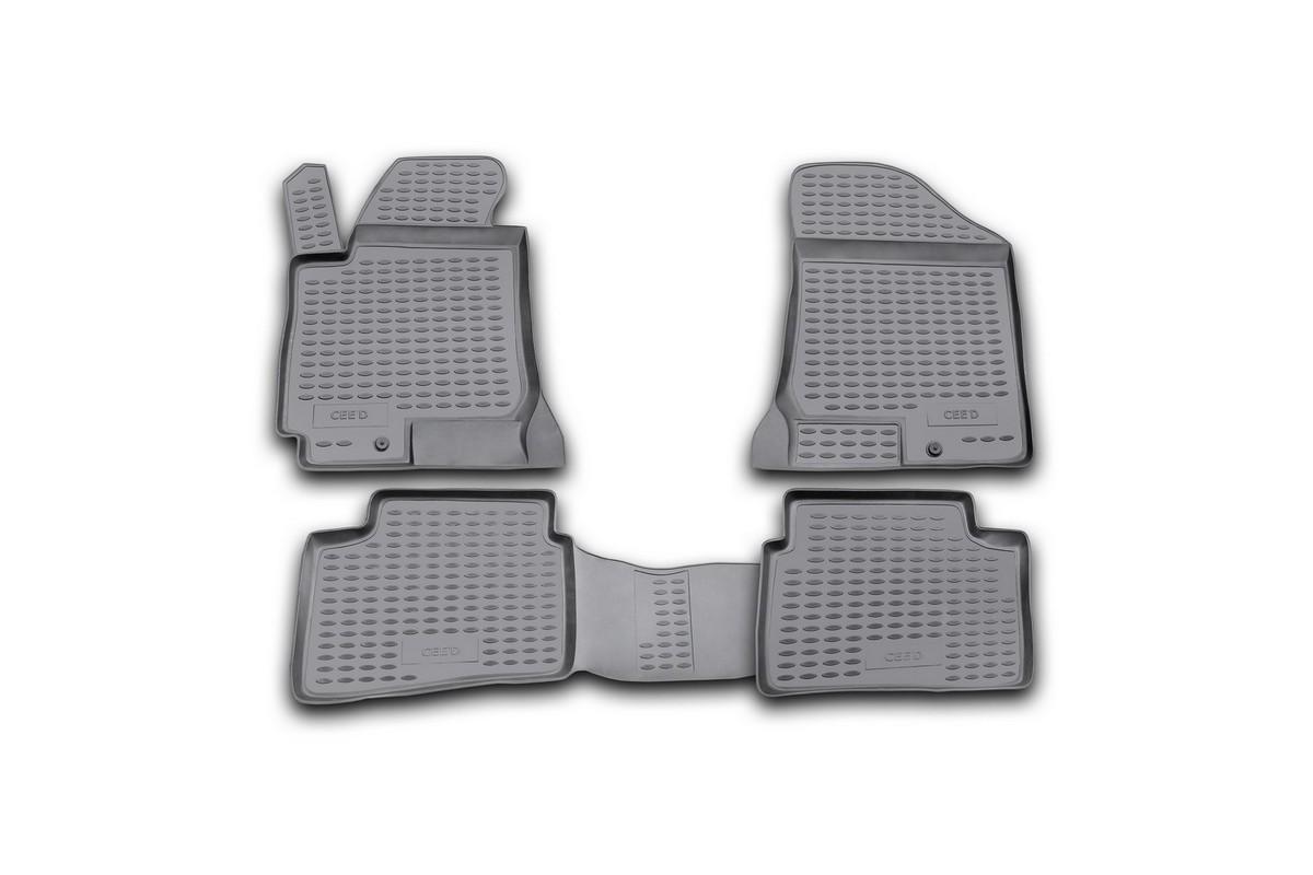 Набор автомобильных ковриков Novline-Autofamily для Kia Ceed 2006-, в салон, 4 шт. NLC.25.20.210hFS-80264Набор автомобильных ковриков Novline-Autofamily, изготовленный из полиуретана, состоит из 4 ковриков, которые учитывают все особенности каждой модели автомобиля и полностью повторяют контуры пола. Полиуретановые автомобильные коврики для салона произведены из высококачественного материала, который держит форму, прочный и не пачкает обувь. Коврики в салон не только улучшат внешний вид салона вашего автомобиля, но и надежно уберегут его от пыли, грязи и сырости, а значит, защитят кузов от коррозии. Полиуретановые коврики для автомобиля гладкие, приятные и не пропускают влагу. Ковры для автомобилей надежно крепятся на полу и не скользят, что очень важно во время движения. Чистятся коврики очень просто: как при помощи автомобильного пылесоса, так и различными моющими средствами. Набор подходит для Kia Ceed с 2006 года выпуска.