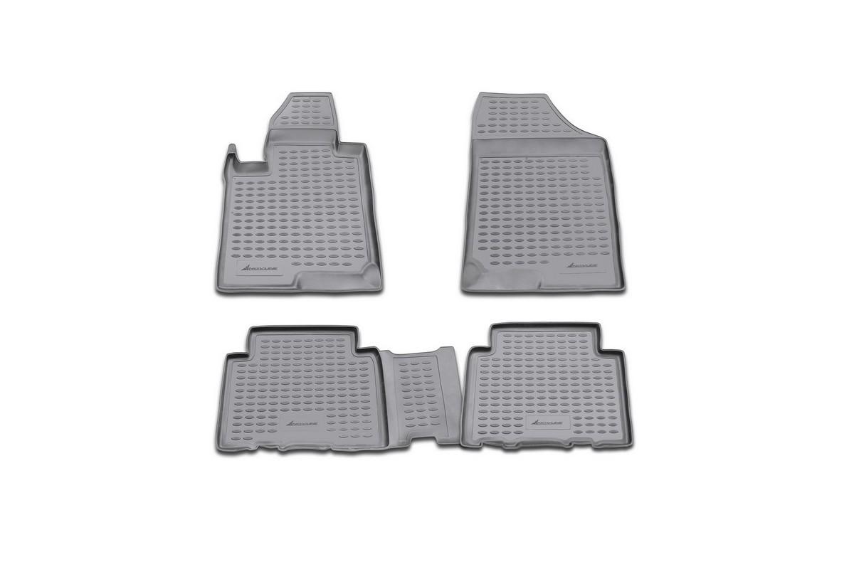 Набор автомобильных ковриков Novline-Autofamily для Kia Carens АКПП 2006-, в салон, 4 шт. NLC.25.22.21021395599Набор автомобильных ковриков Novline-Autofamily, изготовленный из полиуретана, состоит из 4 ковриков, которые учитывают все особенности каждой модели автомобиля и полностью повторяют контуры пола. Полиуретановые автомобильные коврики для салона произведены из высококачественного материала, который держит форму, прочный и не пачкает обувь. Коврики в салон не только улучшат внешний вид салона вашего автомобиля, но и надежно уберегут его от пыли, грязи и сырости, а значит, защитят кузов от коррозии. Полиуретановые коврики для автомобиля гладкие, приятные и не пропускают влагу. Ковры для автомобилей надежно крепятся на полу и не скользят, что очень важно во время движения. Чистятся коврики очень просто: как при помощи автомобильного пылесоса, так и различными моющими средствами. Набор подходит для Kia Carens АКПП с 2006 года выпуска.