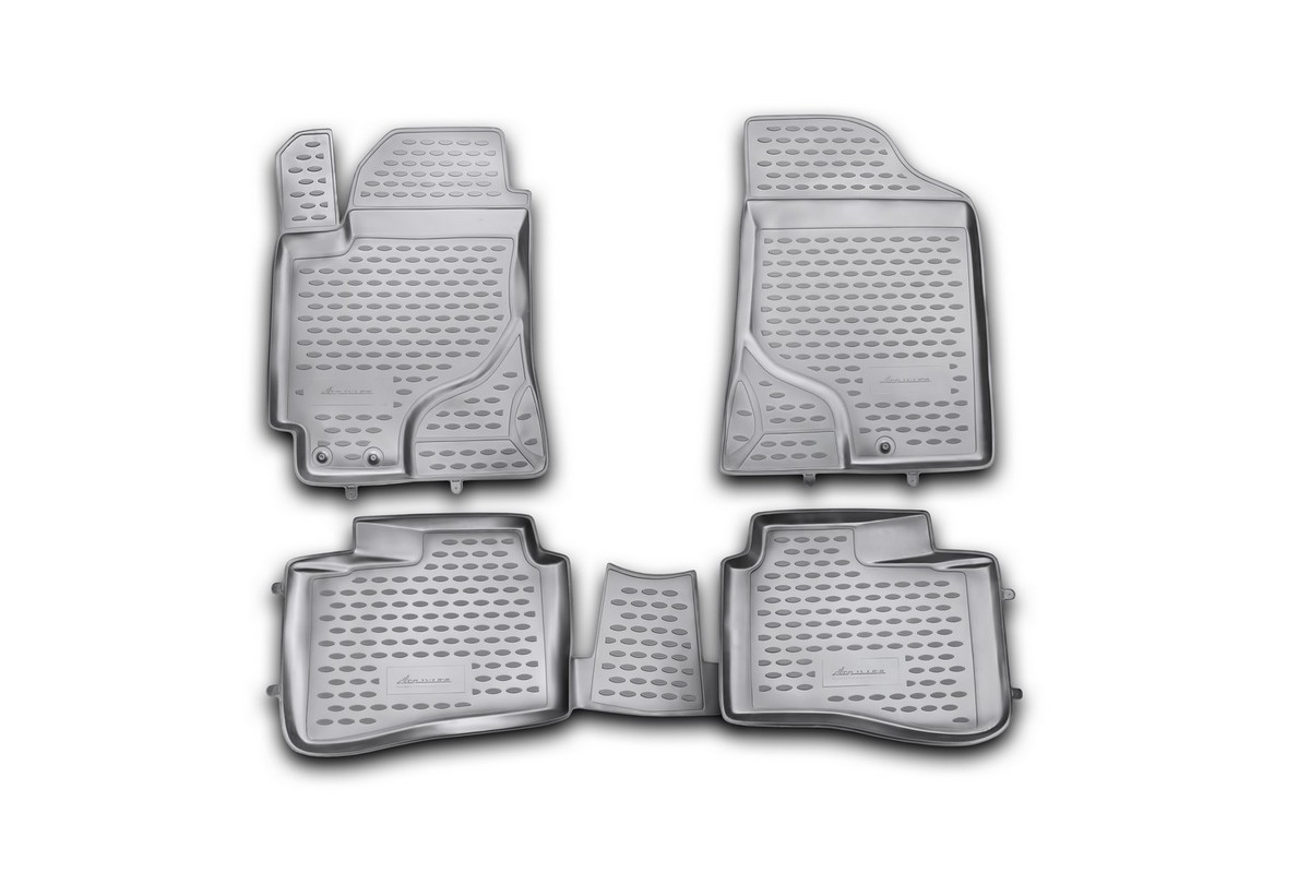 Набор автомобильных ковриков Novline-Autofamily для Kia Cerato 2009-2013, в салон, цвет: черный, 4 шт. NLC.25.26.210hFS-80264Набор автомобильных ковриков Novline-Autofamily, изготовленный из полиуретана, состоит из 4 ковриков, которые учитывают все особенности каждой модели автомобиля и полностью повторяют контуры пола. Полиуретановые автомобильные коврики для салона произведены из высококачественного материала, который держит форму, прочный и не пачкает обувь. Коврики в салон не только улучшат внешний вид салона вашего автомобиля, но и надежно уберегут его от пыли, грязи и сырости, а значит, защитят кузов от коррозии. Полиуретановые коврики для автомобиля гладкие, приятные и не пропускают влагу. Ковры для автомобилей надежно крепятся на полу и не скользят, что очень важно во время движения. Чистятся коврики очень просто: как при помощи автомобильного пылесоса, так и различными моющими средствами. Набор подходит для Kia Cerato 2009-2013 годов выпуска.