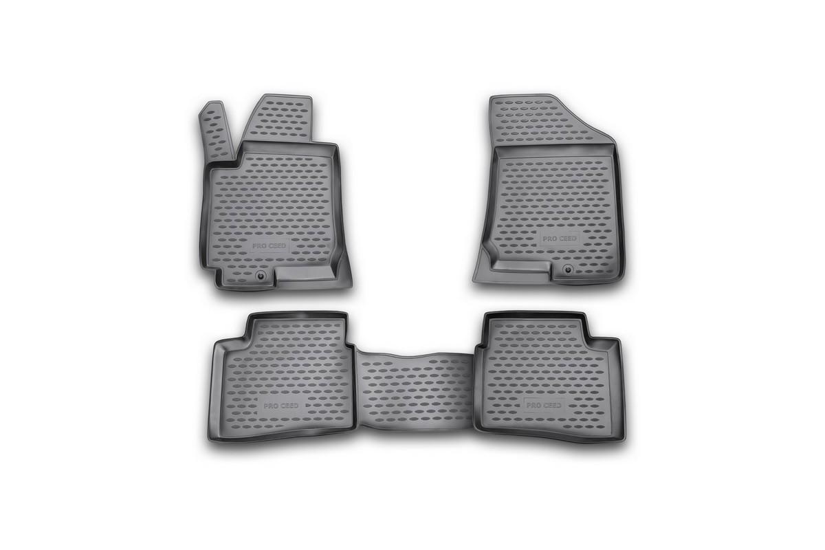 Коврики в салон автомобиля Novline-Autofamily, для KIA Pro-Ceed 3D 2008-, 4 штNLC.25.27.210Коврики в салон Novline-Autofamily не только улучшат внешний вид салона вашего автомобиля, но и надежно уберегут его от пыли, грязи и сырости, а значит, защитят кузов от коррозии. Коврики выполнены из высококачественного полиуретана, они гладкие, приятные и не пропускают влагу. Материал хорошо держит форму и не пачкает обувь. К тому же, он очень прочный (его, к примеру, не получится проткнуть каблуком).Автоковры из полиуретана надежно удерживают грязь и влагу, при этом всегда выглядят довольно опрятно. И чистятся они очень просто: как при помощи автомобильного пылесоса, так и различными моющими средствами. Некоторые автоковрики становятся источником неприятного запаха в автомобиле. С полиуретановыми ковриками Novline вы можете этого не бояться. Автомобильные коврики в салон учитывают все особенности каждой модели и полностью повторяют контуры пола. Благодаря этому их не нужно будет подгибать или обрезать. И самое главное - они не будут мешать педалям. Коврики надежно крепятся на полу и не скользят, что очень важно во время движения, особенно для водителя.