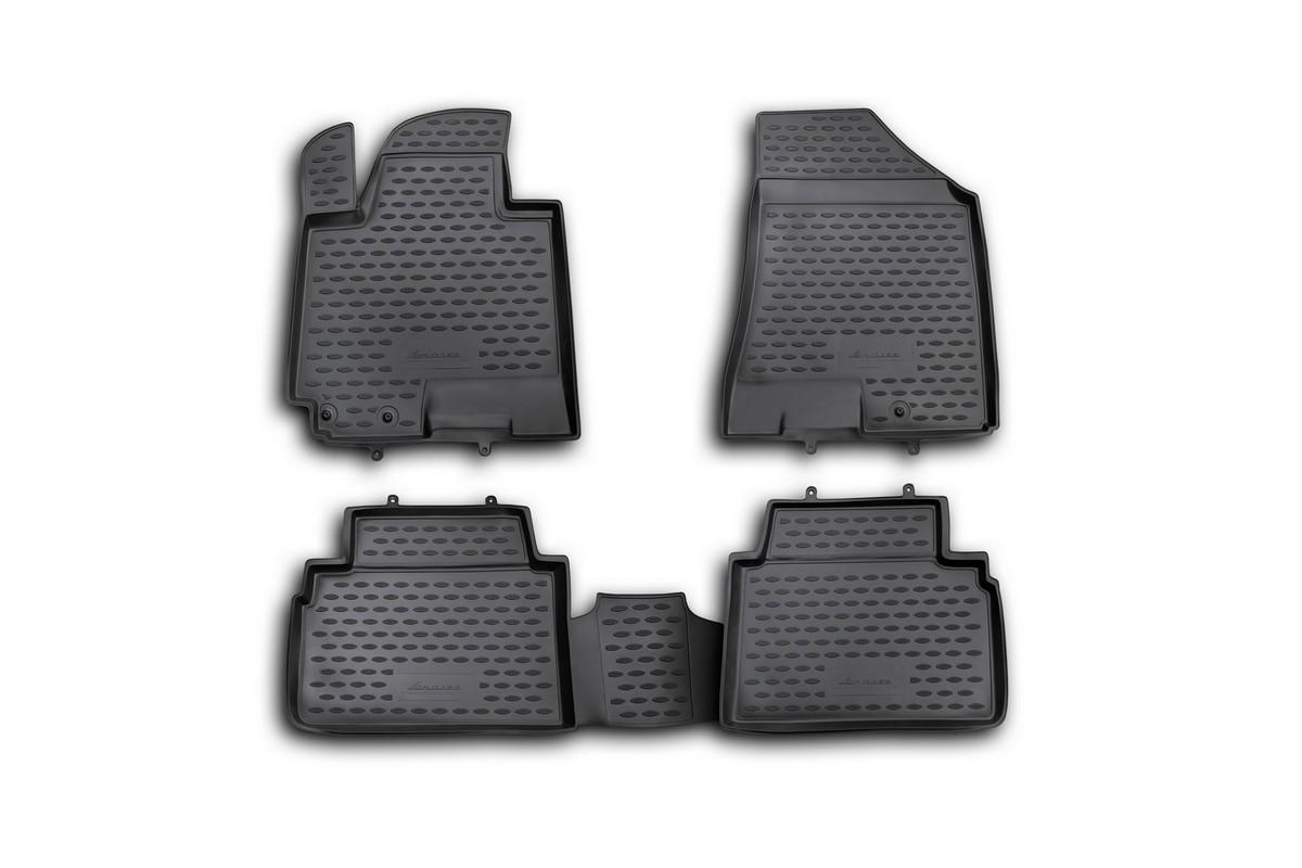 Набор автомобильных ковриков Novline-Autofamily для Kia Sportage NEW 2010-, в салон, цвет: черный, 4 шт. NLC.25.33.210hNLC.20.07.210Набор автомобильных ковриков Novline-Autofamily, изготовленный из полиуретана, состоит из 4 ковриков, которые учитывают все особенности каждой модели автомобиля и полностью повторяют контуры пола. Полиуретановые автомобильные коврики для салона произведены из высококачественного материала, который держит форму, прочный и не пачкает обувь. Коврики в салон не только улучшат внешний вид салона вашего автомобиля, но и надежно уберегут его от пыли, грязи и сырости, а значит, защитят кузов от коррозии. Полиуретановые коврики для автомобиля гладкие, приятные и не пропускают влагу. Ковры для автомобилей надежно крепятся на полу и не скользят, что очень важно во время движения. Чистятся коврики очень просто: как при помощи автомобильного пылесоса, так и различными моющими средствами. Набор подходит для Kia Sportage NEW с 2010 года выпуска.