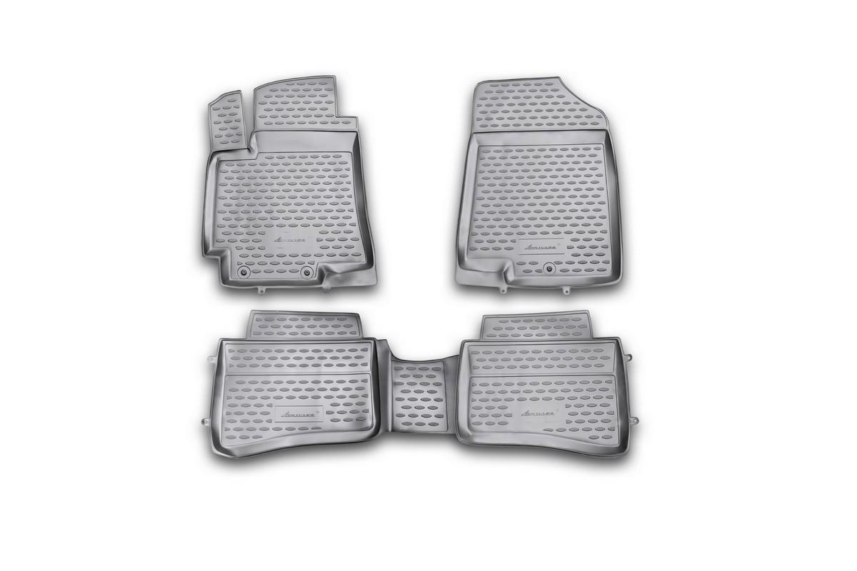 Набор автомобильных ковриков Novline-Autofamily для Kia Rio 2011-, в салон, 4 штSC-FD421005Набор автомобильных ковриков Novline-Autofamily, изготовленный из полиуретана, состоит из 4 ковриков, которые учитывают все особенности каждой модели автомобиля и полностью повторяют контуры пола. Полиуретановые автомобильные коврики для салона произведены из высококачественного материала, который держит форму, прочный и не пачкает обувь. Коврики в салон не только улучшат внешний вид салона вашего автомобиля, но и надежно уберегут его от пыли, грязи и сырости, а значит, защитят кузов от коррозии. Полиуретановые коврики для автомобиля гладкие, приятные и не пропускают влагу. Ковры для автомобилей надежно крепятся на полу и не скользят, что очень важно во время движения. Чистятся коврики очень просто: как при помощи автомобильного пылесоса, так и различными моющими средствами. Набор подходит для Kia Rio с 2011 года выпуска.