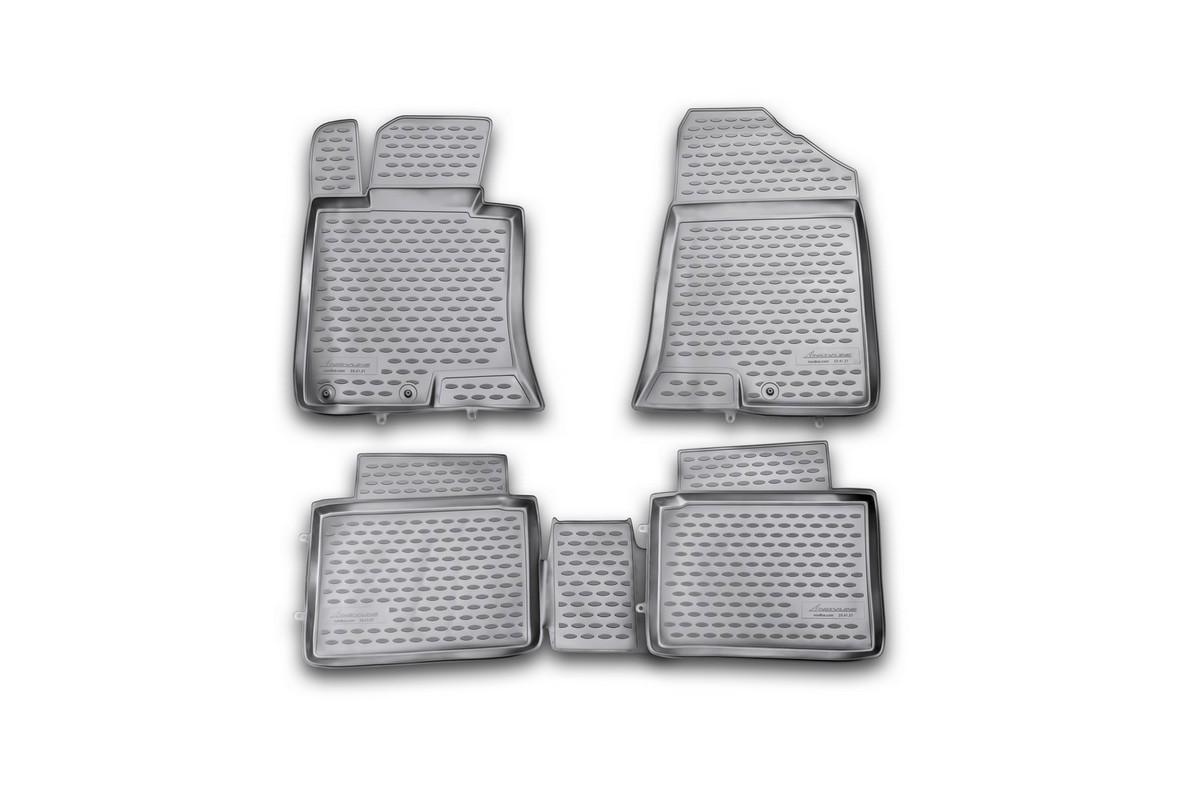 Набор автомобильных ковриков Novline-Autofamily для Kia Optima 2011-2014, в салон, 4 шт. NLC.25.41.210h21395598Набор автомобильных ковриков Novline-Autofamily, изготовленный из полиуретана, состоит из 4 ковриков, которые учитывают все особенности каждой модели автомобиля и полностью повторяют контуры пола. Полиуретановые автомобильные коврики для салона произведены из высококачественного материала, который держит форму, прочный и не пачкает обувь. Коврики в салон не только улучшат внешний вид салона вашего автомобиля, но и надежно уберегут его от пыли, грязи и сырости, а значит, защитят кузов от коррозии. Полиуретановые коврики для автомобиля гладкие, приятные и не пропускают влагу. Ковры для автомобилей надежно крепятся на полу и не скользят, что очень важно во время движения. Чистятся коврики очень просто: как при помощи автомобильного пылесоса, так и различными моющими средствами. Набор подходит для Kia Optima 2011-2014 годов выпуска.