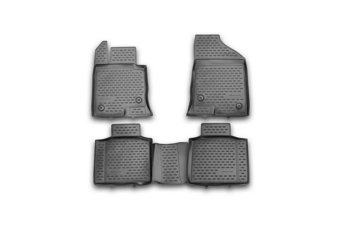 Набор автомобильных ковриков Novline-Autofamily для Kia Cadenza 2011-, в салон, 4 штNLC.3D.41.19.212kНабор автомобильных ковриков Novline-Autofamily, изготовленный из полиуретана, состоит из 4 ковриков, которые учитывают все особенности каждой модели автомобиля и полностью повторяют контуры пола. Полиуретановые автомобильные коврики для салона произведены из высококачественного материала, который держит форму, прочный и не пачкает обувь. Коврики в салон не только улучшат внешний вид салона вашего автомобиля, но и надежно уберегут его от пыли, грязи и сырости, а значит, защитят кузов от коррозии. Полиуретановые коврики для автомобиля гладкие, приятные и не пропускают влагу. Ковры для автомобилей надежно крепятся на полу и не скользят, что очень важно во время движения. Чистятся коврики очень просто: как при помощи автомобильного пылесоса, так и различными моющими средствами. Набор подходит для Kia Cadenza с 2011 года выпуска.
