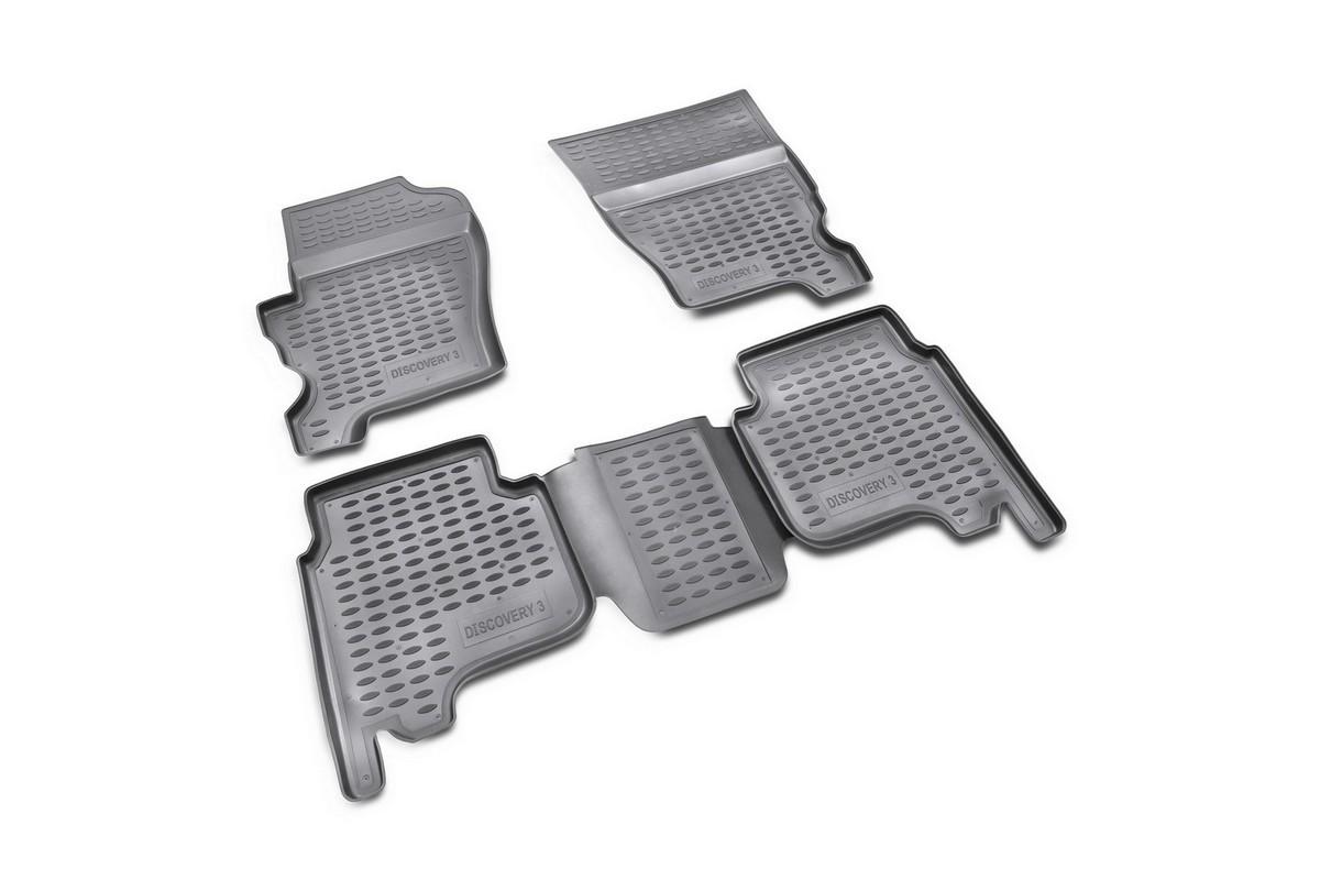 Набор автомобильных ковриков Novline-Autofamily для Land Rover Discovery 3 HSE 2004-, в салон, цвет: черный, 4 шт. NLC.28.01.210TEMP-05Набор автомобильных ковриков Novline-Autofamily, изготовленный из полиуретана, состоит из 4 ковриков, которые учитывают все особенности каждой модели автомобиля и полностью повторяют контуры пола. Полиуретановые автомобильные коврики для салона произведены из высококачественного материала, который держит форму, прочный и не пачкает обувь. Коврики в салон не только улучшат внешний вид салона вашего автомобиля, но и надежно уберегут его от пыли, грязи и сырости, а значит, защитят кузов от коррозии. Полиуретановые коврики для автомобиля гладкие, приятные и не пропускают влагу. Ковры для автомобилей надежно крепятся на полу и не скользят, что очень важно во время движения. Чистятся коврики очень просто: как при помощи автомобильного пылесоса, так и различными моющими средствами. Набор подходит для Land Rover Discovery 3 HSE с 2004 года выпуска.