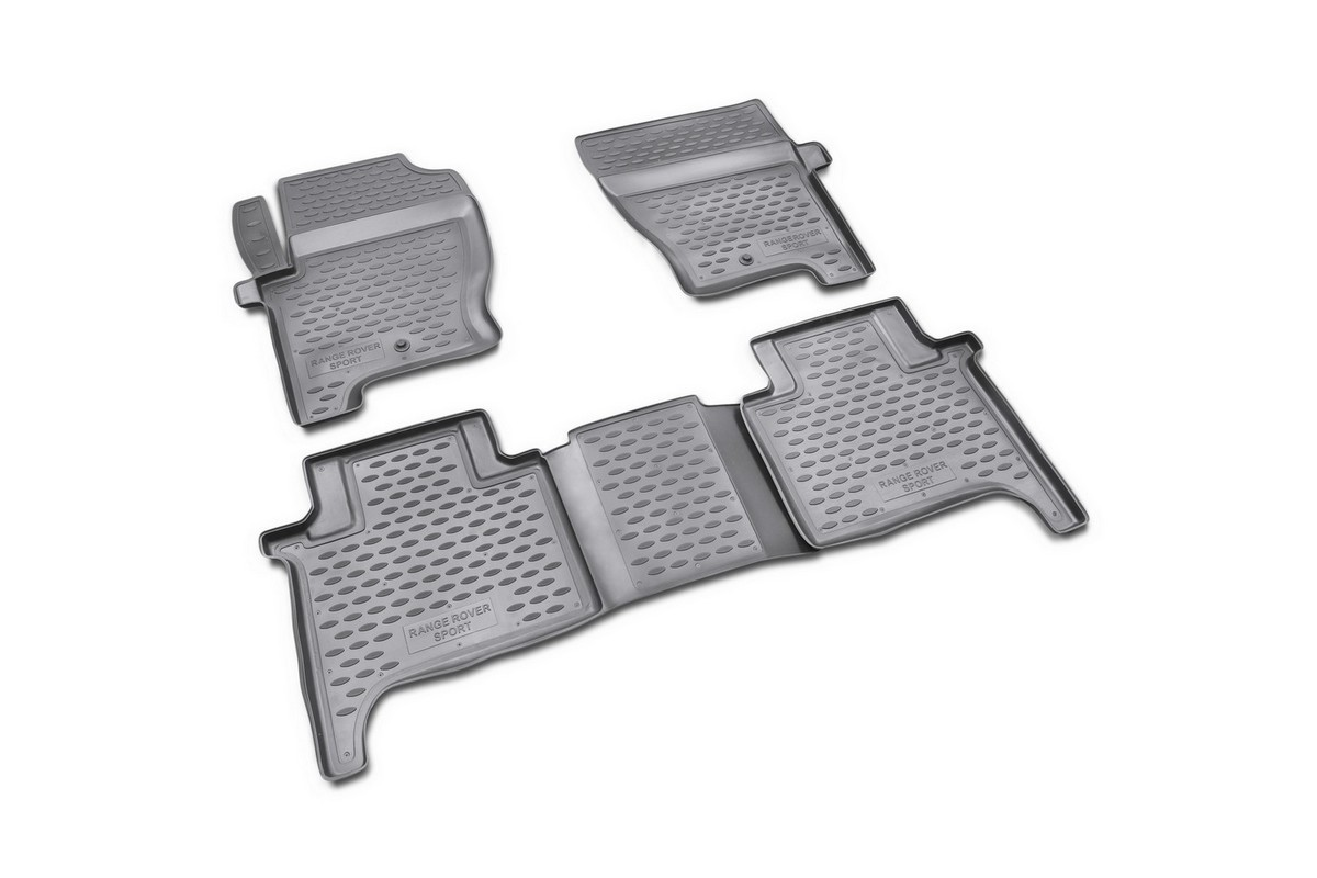 Набор автомобильных ковриков Novline-Autofamily для Land Rover Range Rover Sport 2005-2012, в салон, 4 штLGT.44.06.B12Набор автомобильных ковриков Novline-Autofamily, изготовленный из полиуретана, состоит из 4 ковриков, которые учитывают все особенности каждой модели автомобиля и полностью повторяют контуры пола. Полиуретановые автомобильные коврики для салона произведены из высококачественного материала, который держит форму, прочный и не пачкает обувь. Коврики в салон не только улучшат внешний вид салона вашего автомобиля, но и надежно уберегут его от пыли, грязи и сырости, а значит, защитят кузов от коррозии. Полиуретановые коврики для автомобиля гладкие, приятные и не пропускают влагу. Ковры для автомобилей надежно крепятся на полу и не скользят, что очень важно во время движения. Чистятся коврики очень просто: как при помощи автомобильного пылесоса, так и различными моющими средствами. Набор подходит для Land Rover Range Rover Sport 2005-2012 годов выпуска.
