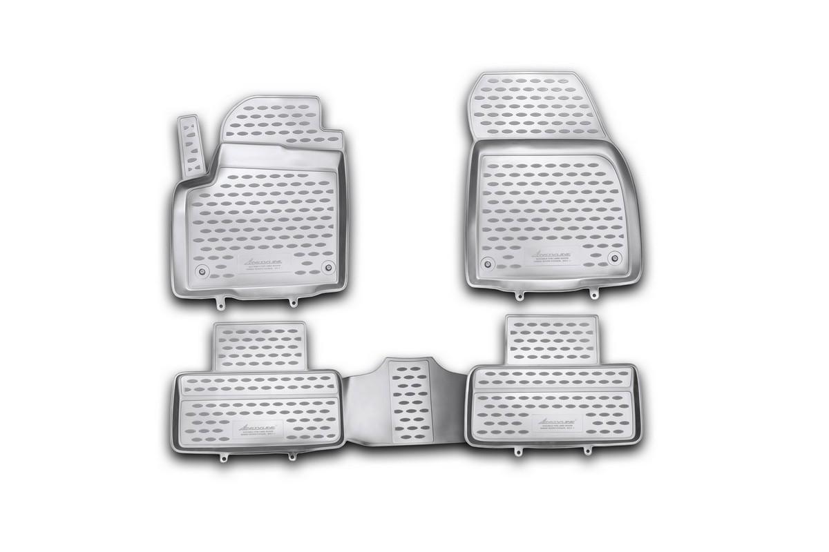 Коврики в салон автомобиля Novline-Autofamily для Land Rover Range Rover Evoque, 2011 -, 4 штВетерок 2ГФКоврики Novline-Autofamily улучшат внешний вид салона автомобиля и надежно уберегут его от пыли, грязи и сырости, а значит, защитят кузов от коррозии. Полиуретановые коврики гладкие, приятные и не пропускает влагу. Полиуретановые автомобильные коврики произведены из высококачественного материала, который держит форму и не пачкает обувь. Коврики надежно крепятся на полу и не скользят, что очень важно во время движения, особенно для водителя. Изделия из полиуретана надежно удерживают грязь и влагу, при этом всегда выглядят довольно опрятно. И чистятся они очень просто: как при помощи автомобильного пылесоса, так и различными моющими средствами.