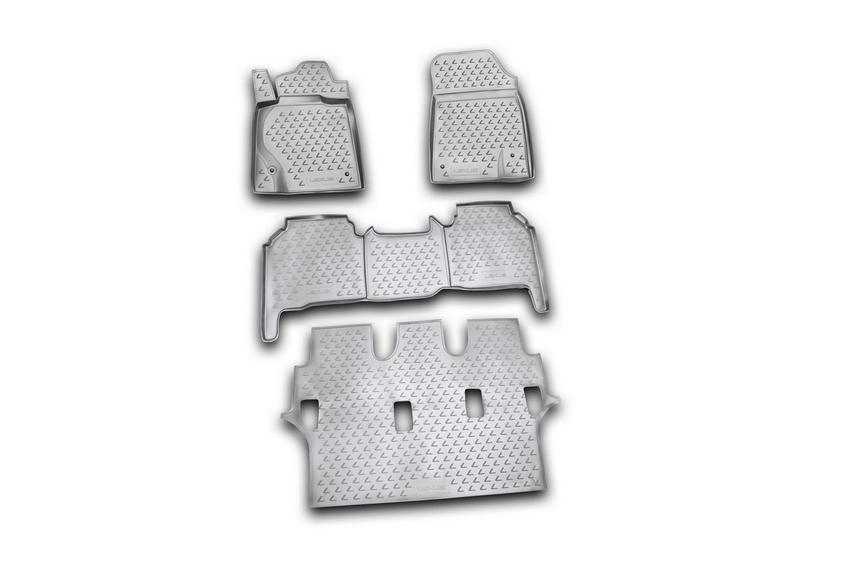 Набор автомобильных ковриков Novline-Autofamily для Lexus LX570 2007-2012, в салон, цвет: черный, 4 штВетерок 2ГФНабор автомобильных ковриков Novline-Autofamily, изготовленный из полиуретана, состоит из 4 ковриков, которые учитывают все особенности каждой модели автомобиля и полностью повторяют контуры пола. Полиуретановые автомобильные коврики для салона произведены из высококачественного материала, который держит форму, прочный и не пачкает обувь. Коврики в салон не только улучшат внешний вид салона вашего автомобиля, но и надежно уберегут его от пыли, грязи и сырости, а значит, защитят кузов от коррозии. Полиуретановые коврики для автомобиля гладкие, приятные и не пропускают влагу. Ковры для автомобилей надежно крепятся на полу и не скользят, что очень важно во время движения. Чистятся коврики очень просто: как при помощи автомобильного пылесоса, так и различными моющими средствами. Набор подходит для Lexus LX570 2007-2012 годов выпуска.