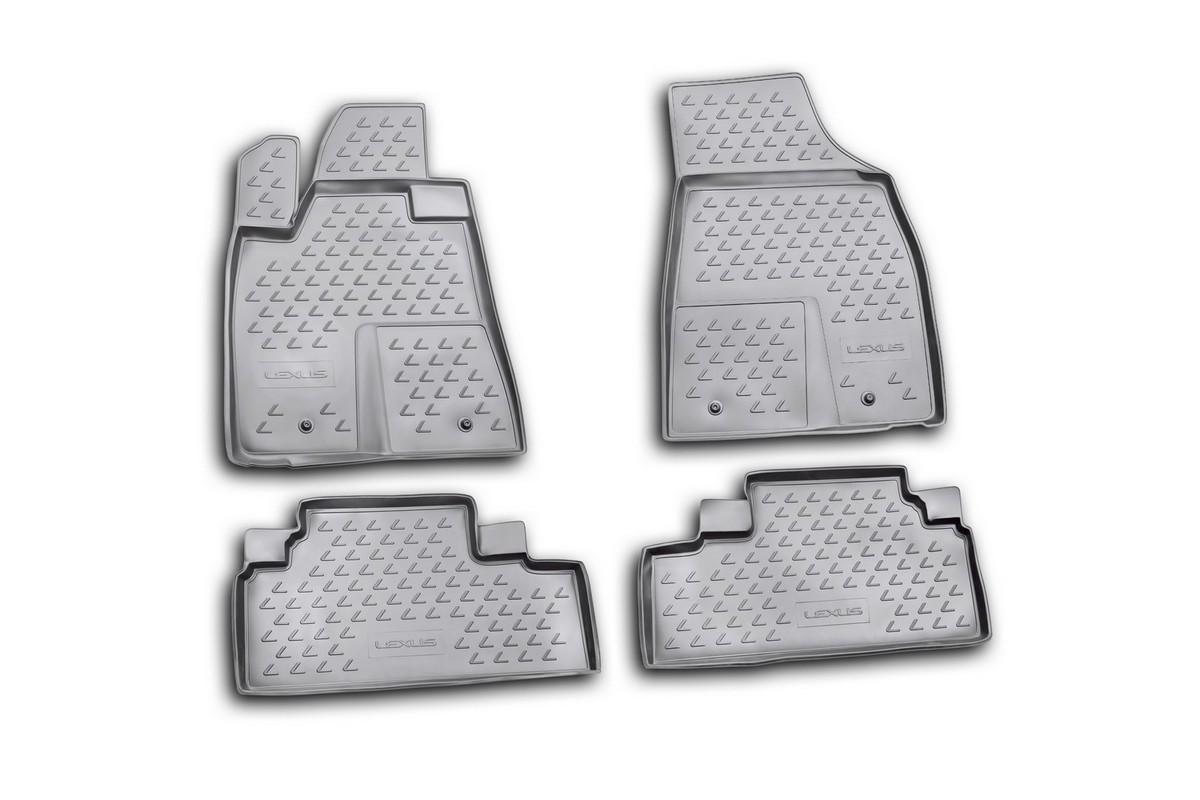 Набор автомобильных ковриков Novline-Autofamily для Lexus RX350 2009-2012, в салон, цвет: черный, 4 штCA-3505Набор автомобильных ковриков Novline-Autofamily, изготовленный из полиуретана, состоит из 4 ковриков, которые учитывают все особенности каждой модели автомобиля и полностью повторяют контуры пола. Полиуретановые автомобильные коврики для салона произведены из высококачественного материала, который держит форму, прочный и не пачкает обувь. Коврики в салон не только улучшат внешний вид салона вашего автомобиля, но и надежно уберегут его от пыли, грязи и сырости, а значит, защитят кузов от коррозии. Полиуретановые коврики для автомобиля гладкие, приятные и не пропускают влагу. Ковры для автомобилей надежно крепятся на полу и не скользят, что очень важно во время движения. Чистятся коврики очень просто: как при помощи автомобильного пылесоса, так и различными моющими средствами. Набор подходит для Lexus RX350 2009-2012 годов выпуска.