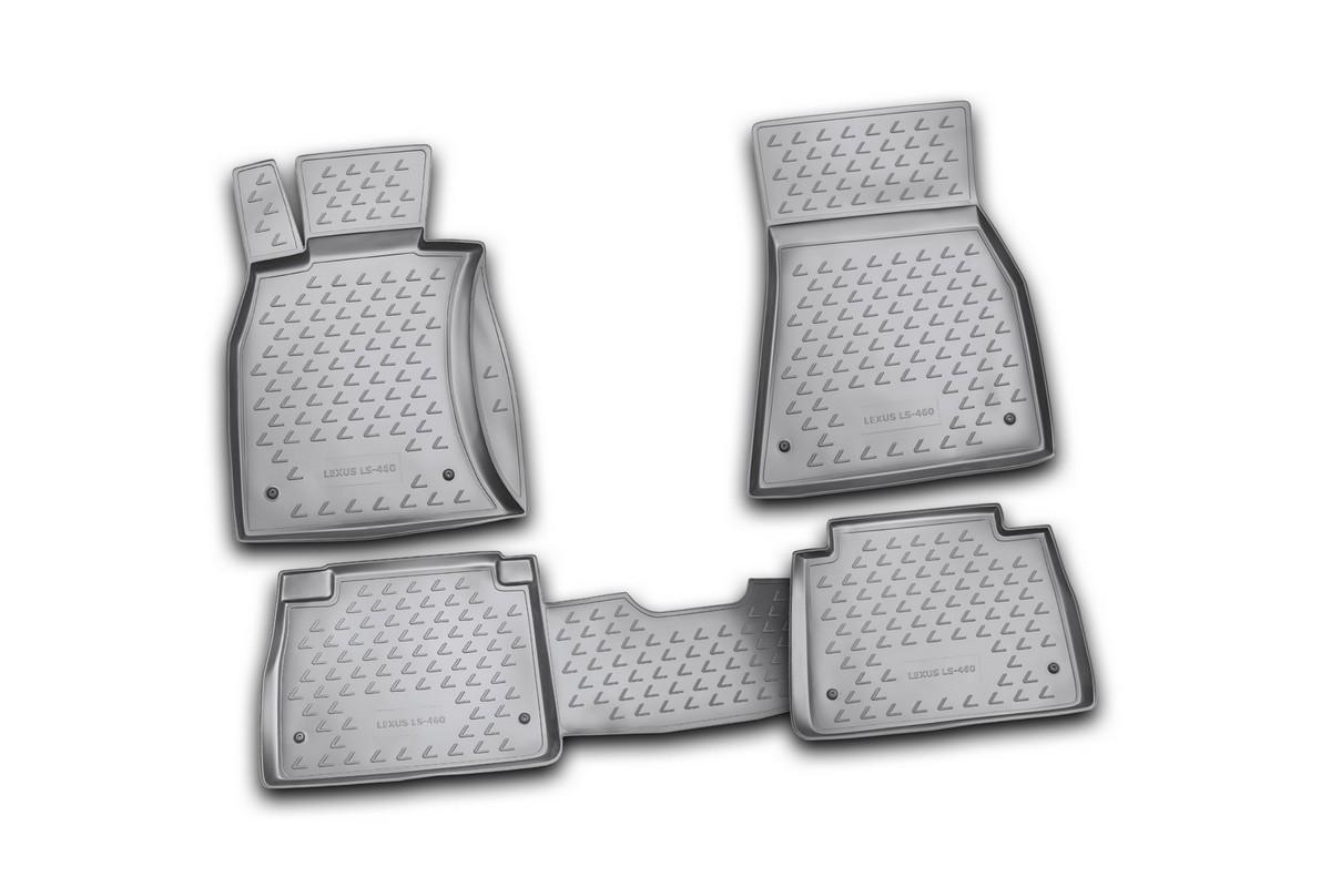 Набор автомобильных ковриков Novline-Autofamily для Lexus LS460 07/2006-, в салон, цвет: черный, 4 штВетерок 2ГФНабор автомобильных ковриков Novline-Autofamily, изготовленный из полиуретана, состоит из 4 ковриков, которые учитывают все особенности каждой модели автомобиля и полностью повторяют контуры пола. Полиуретановые автомобильные коврики для салона произведены из высококачественного материала, который держит форму, прочный и не пачкает обувь. Коврики в салон не только улучшат внешний вид салона вашего автомобиля, но и надежно уберегут его от пыли, грязи и сырости, а значит, защитят кузов от коррозии. Полиуретановые коврики для автомобиля гладкие, приятные и не пропускают влагу. Ковры для автомобилей надежно крепятся на полу и не скользят, что очень важно во время движения. Чистятся коврики очень просто: как при помощи автомобильного пылесоса, так и различными моющими средствами. Набор подходит для Lexus LS460 с июля 2006 года выпуска.