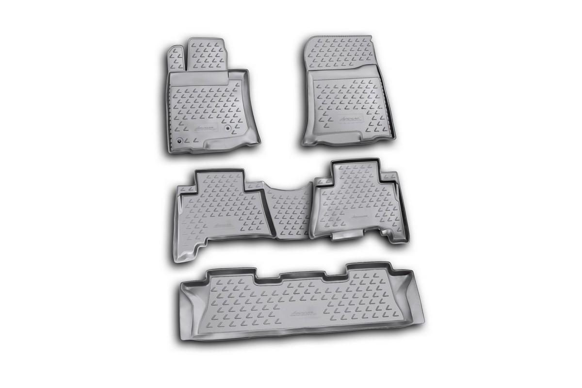 Набор автомобильных ковриков Novline-Autofamily для Lexus GX460 02/2010-, в салон, цвет: черный, 5 штВетерок 2ГФНабор автомобильных ковриков Novline-Autofamily, изготовленный из полиуретана, состоит из 5 ковриков, которые учитывают все особенности каждой модели автомобиля и полностью повторяют контуры пола. Полиуретановые автомобильные коврики для салона произведены из высококачественного материала, который держит форму, прочный и не пачкает обувь. Коврики в салон не только улучшат внешний вид салона вашего автомобиля, но и надежно уберегут его от пыли, грязи и сырости, а значит, защитят кузов от коррозии. Полиуретановые коврики для автомобиля гладкие, приятные и не пропускают влагу. Ковры для автомобилей надежно крепятся на полу и не скользят, что очень важно во время движения. Чистятся коврики очень просто: как при помощи автомобильного пылесоса, так и различными моющими средствами. Набор подходит для Lexus GX460 с февраля 2010 года выпуска.