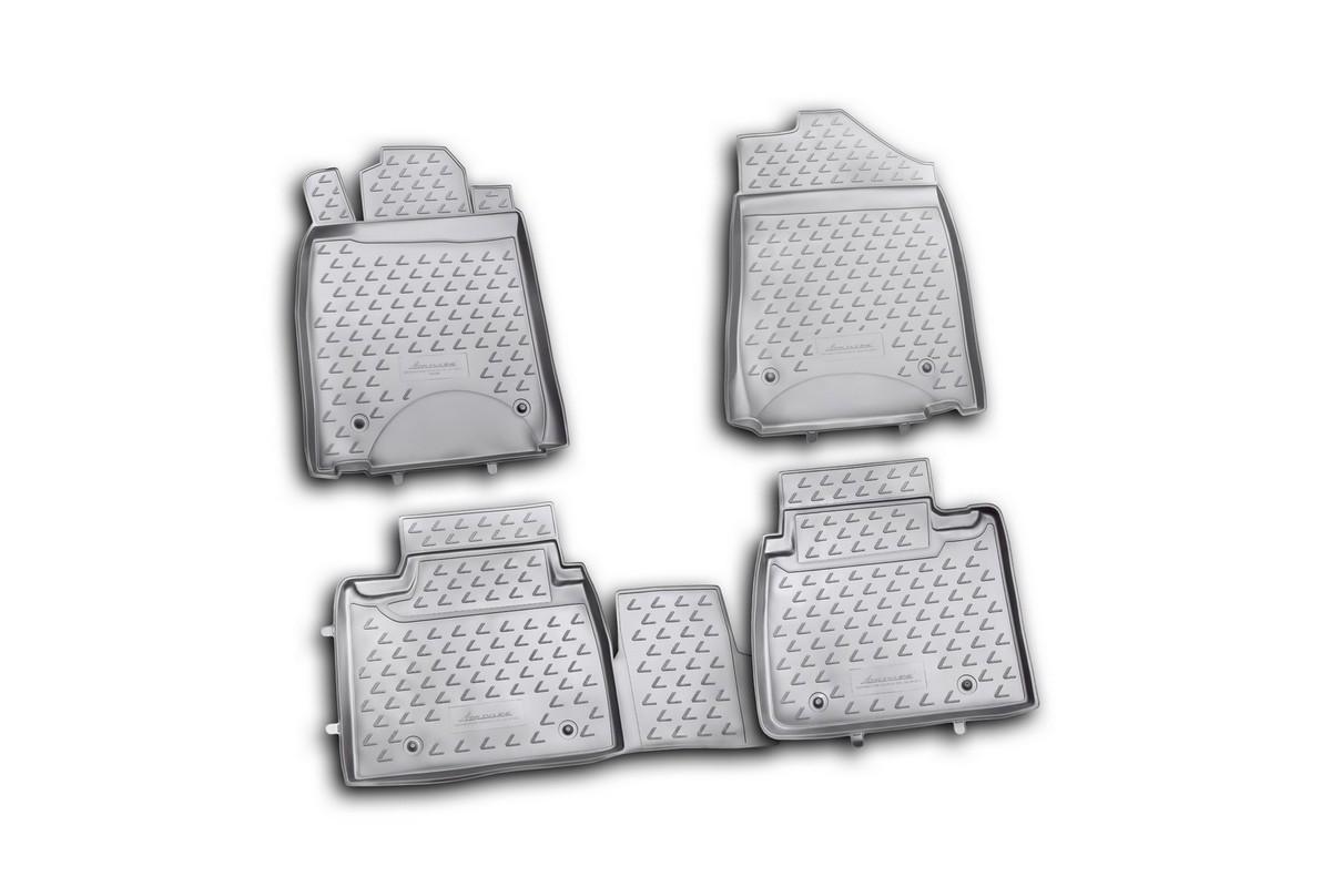 Набор автомобильных ковриков Novline-Autofamily для Lexus ES350 10/2010-2012 , в салон, цвет: черный, 4 штВетерок 2ГФНабор автомобильных ковриков Novline-Autofamily, изготовленный из полиуретана, состоит из 4 ковриков, которые учитывают все особенности каждой модели автомобиля и полностью повторяют контуры пола. Полиуретановые автомобильные коврики для салона произведены из высококачественного материала, который держит форму, прочный и не пачкает обувь. Коврики в салон не только улучшат внешний вид салона вашего автомобиля, но и надежно уберегут его от пыли, грязи и сырости, а значит, защитят кузов от коррозии. Полиуретановые коврики для автомобиля гладкие, приятные и не пропускают влагу. Ковры для автомобилей надежно крепятся на полу и не скользят, что очень важно во время движения. Чистятся коврики очень просто: как при помощи автомобильного пылесоса, так и различными моющими средствами. Набор подходит для Lexus ES350 октябрь 2010-2012 годов выпуска.