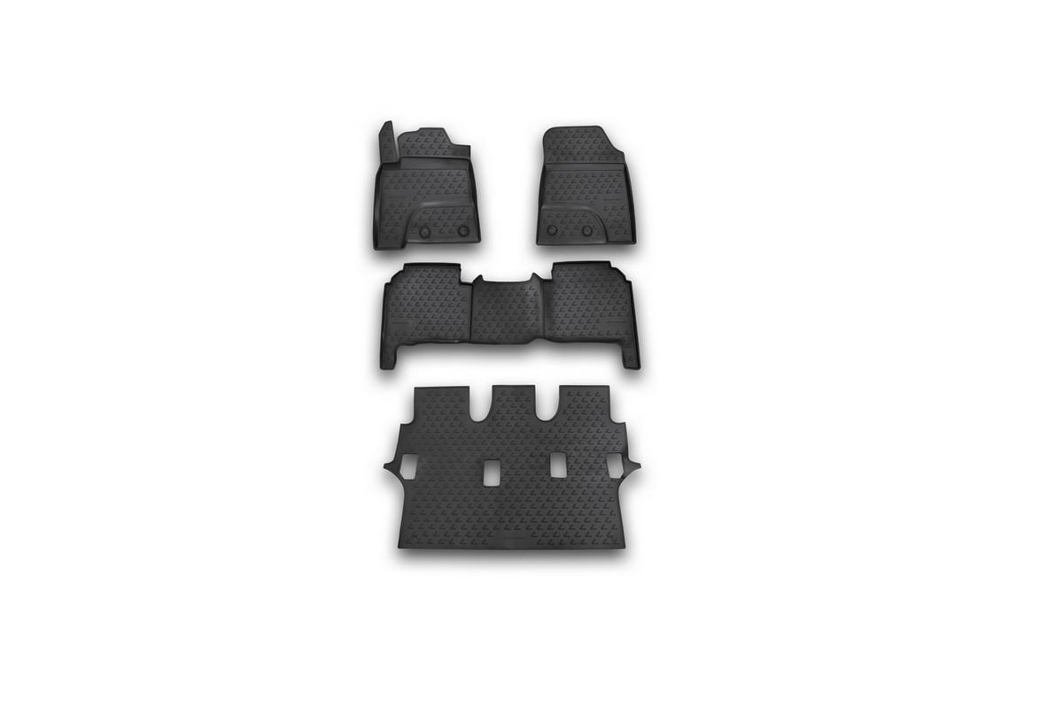 Набор автомобильных ковриков Novline-Autofamily для Lexus LX570 7 мест 2012-, в салон, цвет: черный, 4 штВетерок 2ГФНабор автомобильных ковриков Novline-Autofamily, изготовленный из полиуретана, состоит из 4 ковриков, которые учитывают все особенности каждой модели автомобиля и полностью повторяют контуры пола. Полиуретановые автомобильные коврики для салона произведены из высококачественного материала, который держит форму, прочный и не пачкает обувь. Коврики в салон не только улучшат внешний вид салона вашего автомобиля, но и надежно уберегут его от пыли, грязи и сырости, а значит, защитят кузов от коррозии. Полиуретановые коврики для автомобиля гладкие, приятные и не пропускают влагу. Ковры для автомобилей надежно крепятся на полу и не скользят, что очень важно во время движения. Чистятся коврики очень просто: как при помощи автомобильного пылесоса, так и различными моющими средствами. Набор подходит для Lexus LX570 7 мест с 2012 года выпуска.