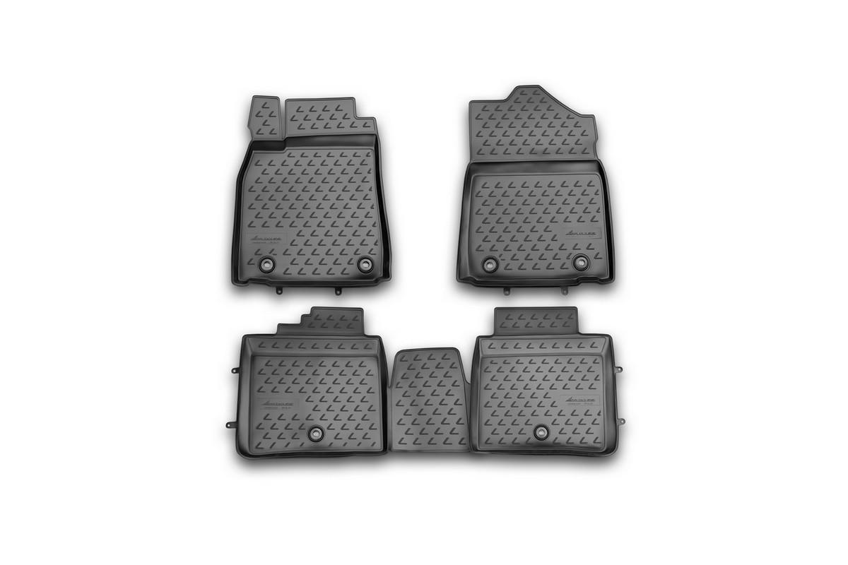 Набор автомобильных ковриков Novline-Autofamily для Lexus ES 250/350, 300h, 2012-, в салон, 4 штАксион Т-33Набор автомобильных ковриков Novline-Autofamily, изготовленный из полиуретана, состоит из 4 ковриков, которые учитывают все особенности каждой модели автомобиля и полностью повторяют контуры пола. Полиуретановые автомобильные коврики для салона произведены из высококачественного материала, который держит форму, прочный и не пачкает обувь. Коврики в салон не только улучшат внешний вид салона вашего автомобиля, но и надежно уберегут его от пыли, грязи и сырости, а значит, защитят кузов от коррозии. Полиуретановые коврики для автомобиля гладкие, приятные и не пропускают влагу. Ковры для автомобилей надежно крепятся на полу и не скользят, что очень важно во время движения. Чистятся коврики очень просто: как при помощи автомобильного пылесоса, так и различными моющими средствами. Набор подходит для Lexus ES 250/350, 300h с 2012 года выпуска.