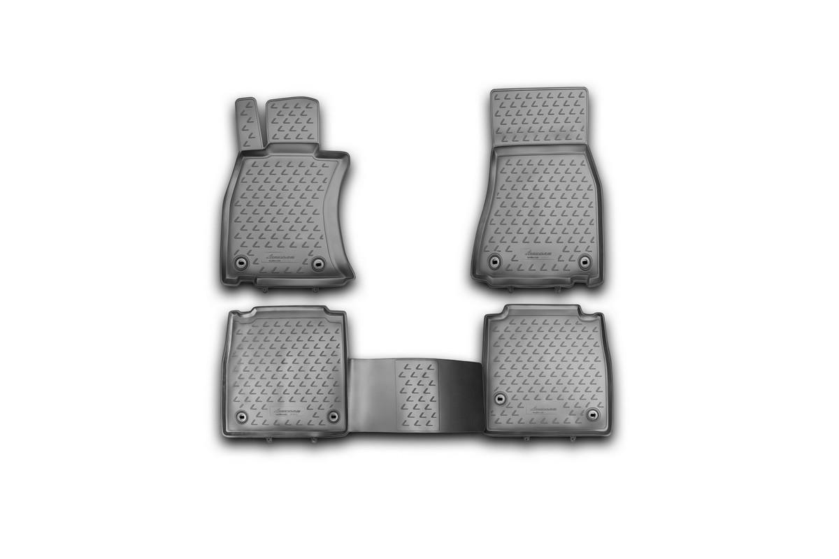 Набор автомобильных ковриков Novline-Autofamily для Lexus LS 460 L 2012-, в салон, 4 шт300240Набор автомобильных ковриков Novline-Autofamily, изготовленный из полиуретана, состоит из 4 ковриков, которые учитывают все особенности каждой модели автомобиля и полностью повторяют контуры пола. Полиуретановые автомобильные коврики для салона произведены из высококачественного материала, который держит форму, прочный и не пачкает обувь. Коврики в салон не только улучшат внешний вид салона вашего автомобиля, но и надежно уберегут его от пыли, грязи и сырости, а значит, защитят кузов от коррозии. Полиуретановые коврики для автомобиля гладкие, приятные и не пропускают влагу. Ковры для автомобилей надежно крепятся на полу и не скользят, что очень важно во время движения. Чистятся коврики очень просто: как при помощи автомобильного пылесоса, так и различными моющими средствами. Набор подходит для Lexus LS 460 L c 2012 года выпуска.