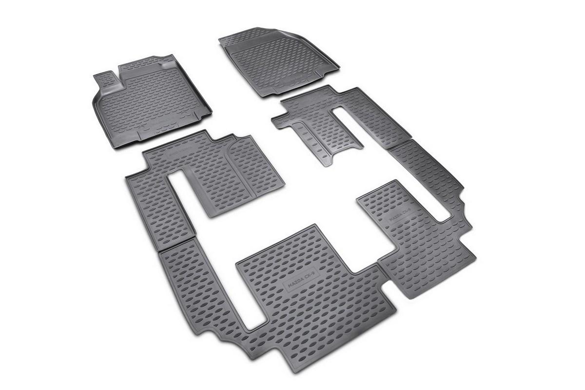 Набор автомобильных ковриков Novline-Autofamily для Mazda CX-9 2007-2012, 2012-, в салон, 6 шт. NLC.33.16.210k54 009318Набор автомобильных ковриков Novline-Autofamily, изготовленный из полиуретана, состоит из 6 ковриков, которые учитывают все особенности каждой модели автомобиля и полностью повторяют контуры пола. Полиуретановые автомобильные коврики для салона произведены из высококачественного материала, который держит форму, прочный и не пачкает обувь. Коврики в салон не только улучшат внешний вид салона вашего автомобиля, но и надежно уберегут его от пыли, грязи и сырости, а значит, защитят кузов от коррозии. Полиуретановые коврики для автомобиля гладкие, приятные и не пропускают влагу. Ковры для автомобилей надежно крепятся на полу и не скользят, что очень важно во время движения. Чистятся коврики очень просто: как при помощи автомобильного пылесоса, так и различными моющими средствами. Набор подходит для Mazda CX-9 2007-2012, 2012 и позднее годов выпуска.