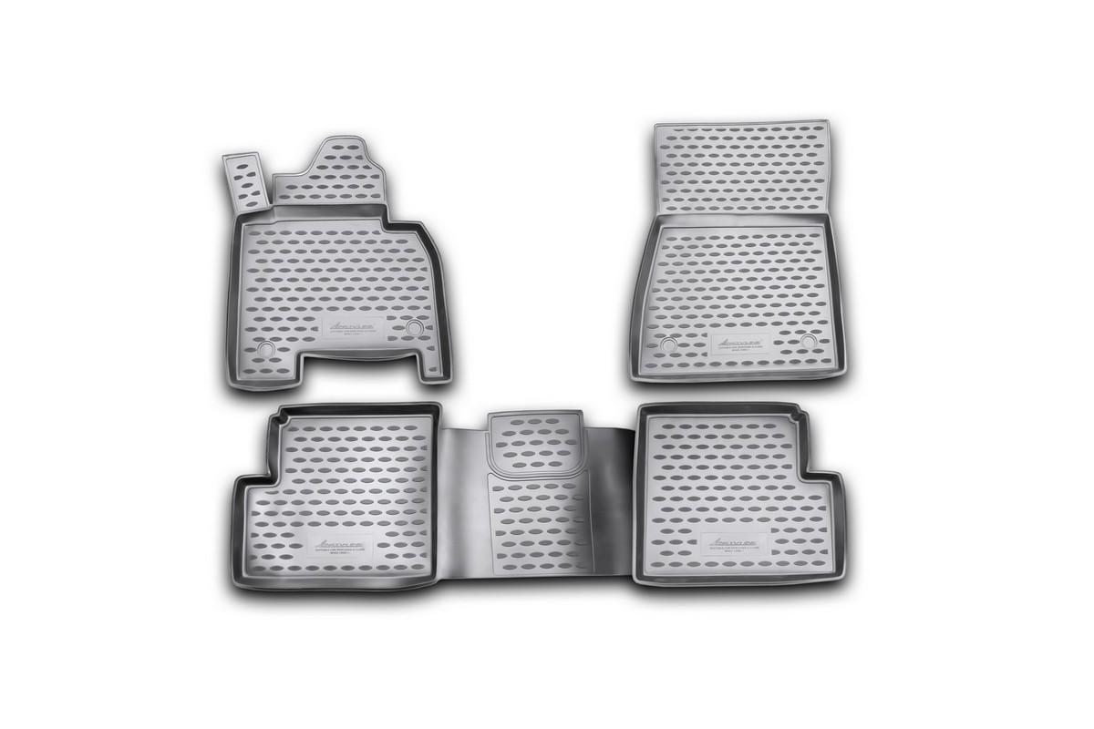 Набор автомобильных ковриков Novline-Autofamily для Mercedes-Benz G-Class W463 2007-, в салон, 4 штNLC.63.04.210Набор автомобильных ковриков Novline-Autofamily, изготовленный из полиуретана, состоит из 4 ковриков, которые учитывают все особенности каждой модели автомобиля и полностью повторяют контуры пола. Полиуретановые автомобильные коврики для салона произведены из высококачественного материала, который держит форму, прочный и не пачкает обувь. Коврики в салон не только улучшат внешний вид салона вашего автомобиля, но и надежно уберегут его от пыли, грязи и сырости, а значит, защитят кузов от коррозии. Полиуретановые коврики для автомобиля гладкие, приятные и не пропускают влагу. Ковры для автомобилей надежно крепятся на полу и не скользят, что очень важно во время движения. Чистятся коврики очень просто: как при помощи автомобильного пылесоса, так и различными моющими средствами. Набор подходит для Mercedes-Benz G-Class (G-Klasse) W463 с2007 года выпуска.