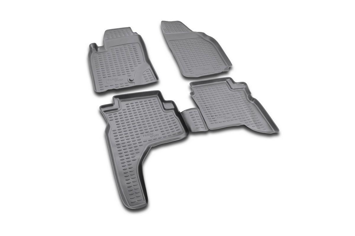 Набор автомобильных ковриков Novline-Autofamily для Mitsubishi Pajero Sport 1997-2008, в салон, цвет: черный, 4 штFS-80264Набор автомобильных ковриков Novline-Autofamily, изготовленный из полиуретана, состоит из 4 ковриков, которые учитывают все особенности каждой модели автомобиля и полностью повторяют контуры пола. Полиуретановые автомобильные коврики для салона произведены из высококачественного материала, который держит форму, прочный и не пачкает обувь. Коврики в салон не только улучшат внешний вид салона вашего автомобиля, но и надежно уберегут его от пыли, грязи и сырости, а значит, защитят кузов от коррозии. Полиуретановые коврики для автомобиля гладкие, приятные и не пропускают влагу. Ковры для автомобилей надежно крепятся на полу и не скользят, что очень важно во время движения. Чистятся коврики очень просто: как при помощи автомобильного пылесоса, так и различными моющими средствами. Набор подходит для Mitsubishi Pajero Sport 1997-2008 годов выпуска.