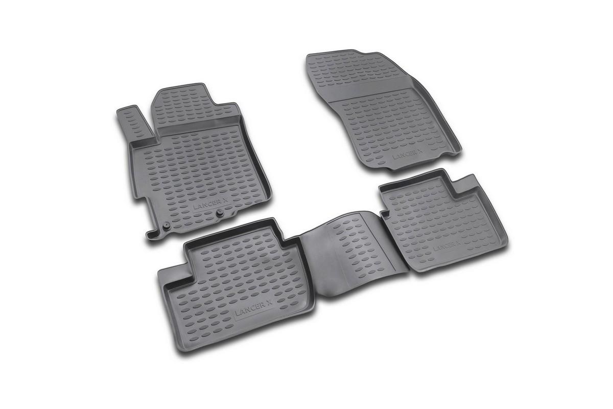 Набор автомобильных ковриков Novline-Autofamily для Mitsubishi Lancer X 03/2007-, в салон, 4 штNLT.36.37.22.110khНабор автомобильных ковриков Novline-Autofamily, изготовленный из полиуретана, состоит из 4 ковриков, которые учитывают все особенности каждой модели автомобиля и полностью повторяют контуры пола. Полиуретановые автомобильные коврики для салона произведены из высококачественного материала, который держит форму, прочный и не пачкает обувь. Коврики в салон не только улучшат внешний вид салона вашего автомобиля, но и надежно уберегут его от пыли, грязи и сырости, а значит, защитят кузов от коррозии. Полиуретановые коврики для автомобиля гладкие, приятные и не пропускают влагу. Ковры для автомобилей надежно крепятся на полу и не скользят, что очень важно во время движения. Чистятся коврики очень просто: как при помощи автомобильного пылесоса, так и различными моющими средствами. Набор подходит для Mitsubishi Lancer X с марта 2007 года выпуска.