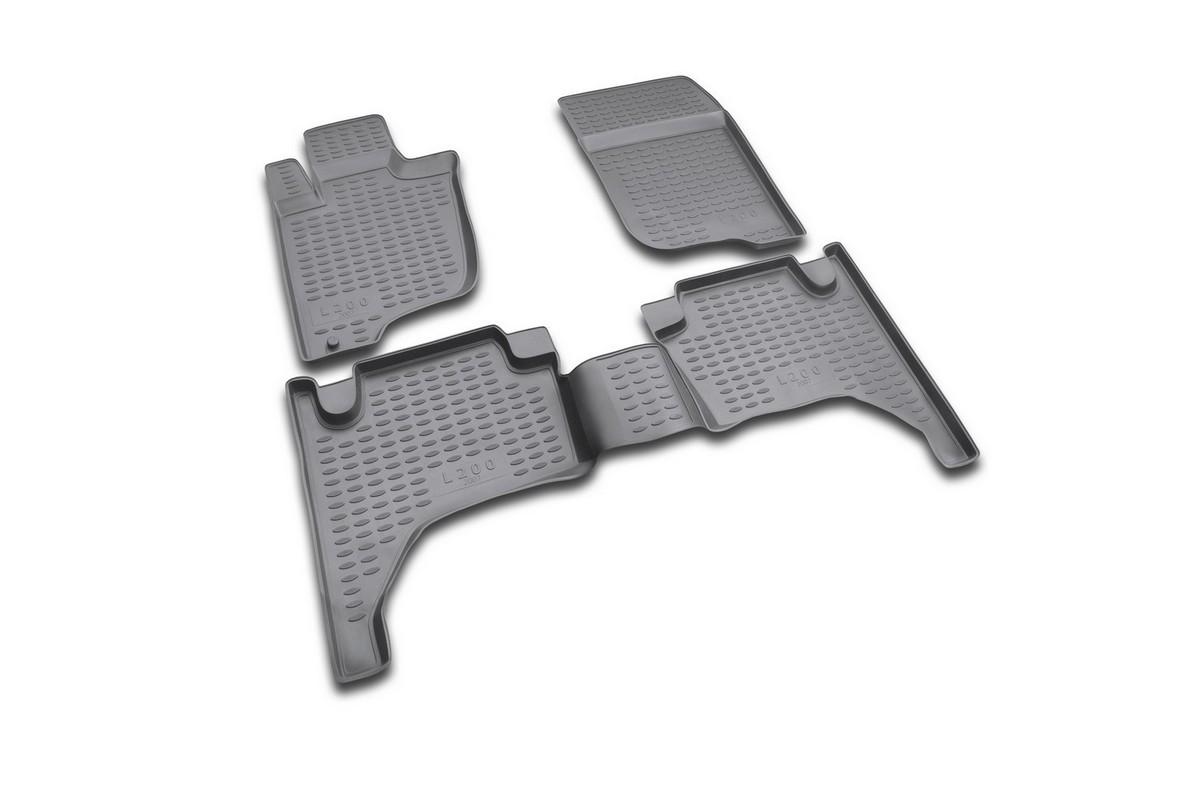 Набор автомобильных ковриков в салон Novline-Autofamily для Mitsubishi L 200 IV, 2005 - 2015, 4 шт300151_темно-розовыйНабор автомобильных ковриков Novline-Autofamily, изготовленный из полиуретана, состоит из 4 ковриков, которые учитывают все особенности каждой модели автомобиля и полностью повторяют контуры пола. Полиуретановые автомобильные коврики для салона произведены из высококачественного материала, который держит форму, прочный и не пачкает обувь. Коврики в салон не только улучшат внешний вид салона вашего автомобиля, но и надежно уберегут его от пыли, грязи и сырости, а значит, защитят кузов от коррозии. Полиуретановые коврики для автомобиля гладкие, приятные и не пропускают влагу. Ковры для автомобилей надежно крепятся на полу и не скользят, что очень важно во время движения. Чистятся коврики очень просто: как при помощи автомобильного пылесоса, так и различными моющими средствами. Набор подходит для Mitsubishi L-200 IV 2005-2015 годов выпуска.