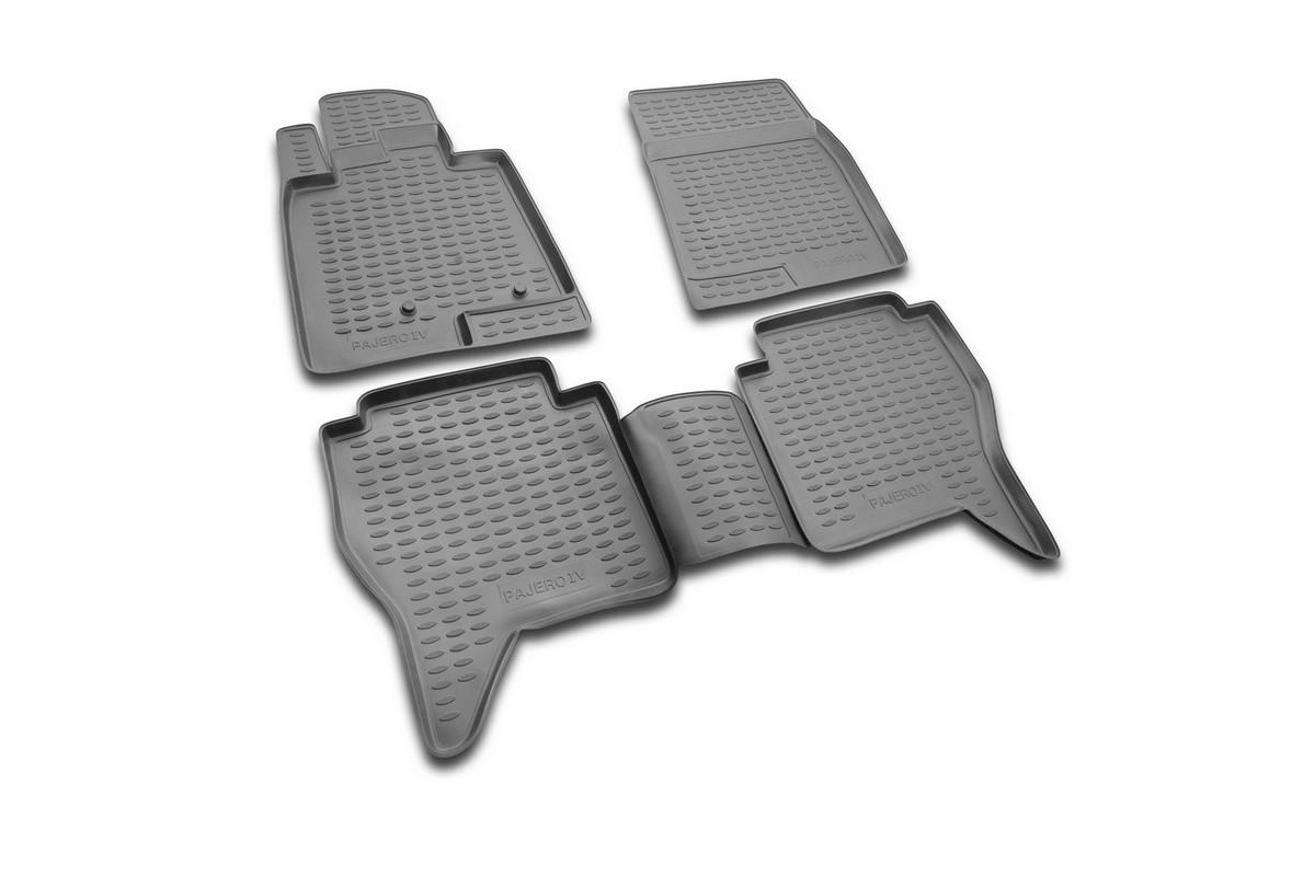 Набор автомобильных ковриков Novline-Autofamily для Mitsubishi Pajero IV 2006-, в салон, 4 штВетерок 2ГФНабор автомобильных ковриков Novline-Autofamily, изготовленный из полиуретана, состоит из 4 ковриков, которые учитывают все особенности каждой модели автомобиля и полностью повторяют контуры пола. Полиуретановые автомобильные коврики для салона произведены из высококачественного материала, который держит форму, прочный и не пачкает обувь. Коврики в салон не только улучшат внешний вид салона вашего автомобиля, но и надежно уберегут его от пыли, грязи и сырости, а значит, защитят кузов от коррозии. Полиуретановые коврики для автомобиля гладкие, приятные и не пропускают влагу. Ковры для автомобилей надежно крепятся на полу и не скользят, что очень важно во время движения. Чистятся коврики очень просто: как при помощи автомобильного пылесоса, так и различными моющими средствами. Набор подходит для Mitsubishi Pajero IV с 2006 года выпуска.