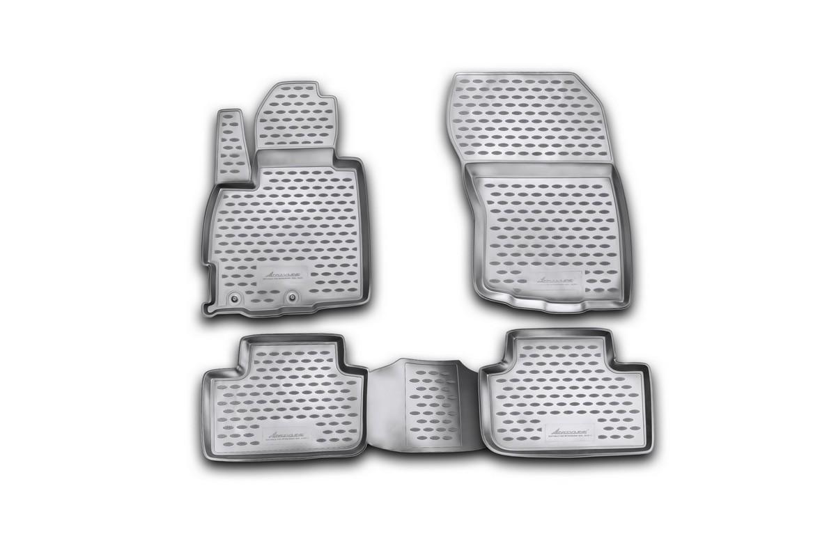Набор автомобильных ковриков Novline-Autofamily для Mitsubishi ASX 06/2010-, в салон, 4 штF520250E1Набор автомобильных ковриков Novline-Autofamily, изготовленный из полиуретана, состоит из 4 ковриков, которые учитывают все особенности каждой модели автомобиля и полностью повторяют контуры пола. Полиуретановые автомобильные коврики для салона произведены из высококачественного материала, который держит форму, прочный и не пачкает обувь. Коврики в салон не только улучшат внешний вид салона вашего автомобиля, но и надежно уберегут его от пыли, грязи и сырости, а значит, защитят кузов от коррозии. Полиуретановые коврики для автомобиля гладкие, приятные и не пропускают влагу. Ковры для автомобилей надежно крепятся на полу и не скользят, что очень важно во время движения. Чистятся коврики очень просто: как при помощи автомобильного пылесоса, так и различными моющими средствами. Набор подходит для Mitsubishi ASX с июня 2010 года выпуска.