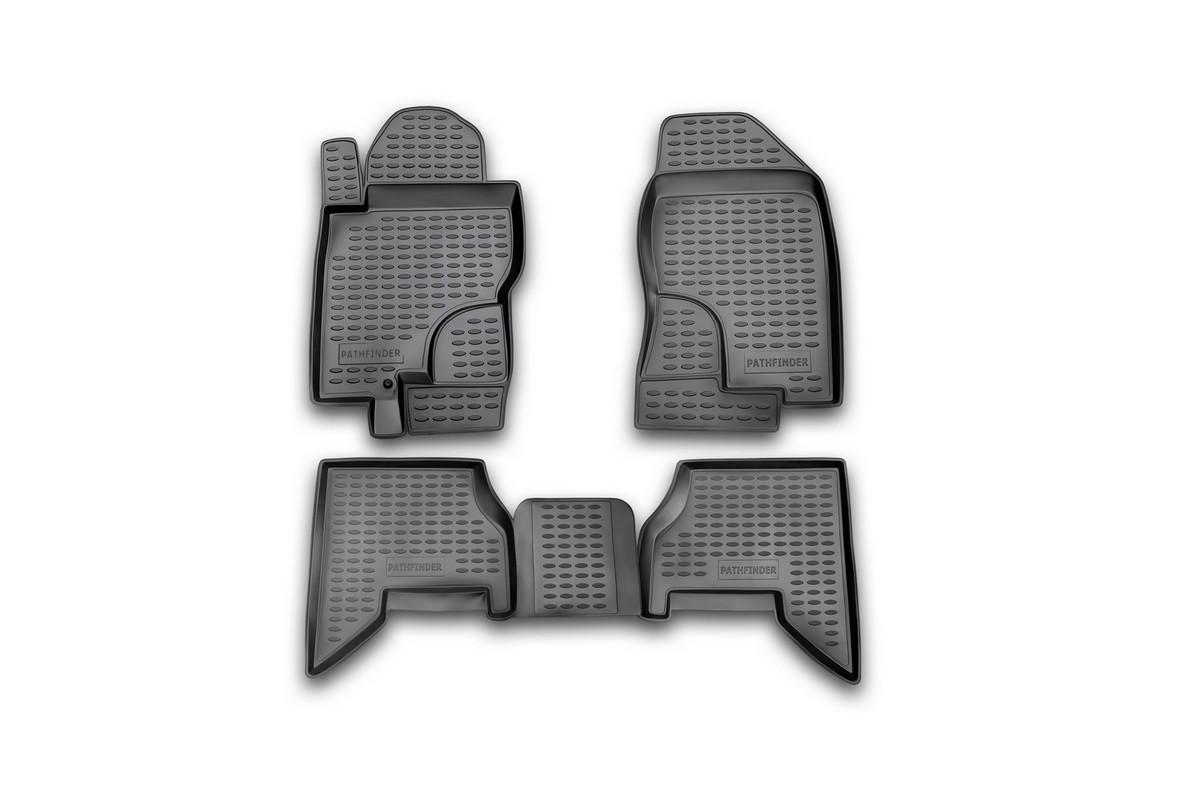 Набор автомобильных ковриков Novline-Autofamily для Nissan Pathfinder 2005-2010, в салон, цвет: черный, 4 шт. NLC.36.10.21054 009318Набор автомобильных ковриков Novline-Autofamily, изготовленный из полиуретана, состоит из 4 ковриков, которые учитывают все особенности каждой модели автомобиля и полностью повторяют контуры пола. Полиуретановые автомобильные коврики для салона произведены из высококачественного материала, который держит форму, прочный и не пачкает обувь. Коврики в салон не только улучшат внешний вид салона вашего автомобиля, но и надежно уберегут его от пыли, грязи и сырости, а значит, защитят кузов от коррозии. Полиуретановые коврики для автомобиля гладкие, приятные и не пропускают влагу. Ковры для автомобилей надежно крепятся на полу и не скользят, что очень важно во время движения. Чистятся коврики очень просто: как при помощи автомобильного пылесоса, так и различными моющими средствами. Набор подходит для Nissan Pathfinder 2005-2010 годов выпуска.