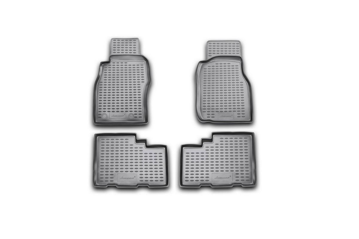Набор автомобильных ковриков Novline-Autofamily для Nissan Patrol 1997-2010, в салон, 4 шт. NLC.36.14.210Ветерок 2ГФНабор автомобильных ковриков Novline-Autofamily, изготовленный из полиуретана, состоит из 4 ковриков, которые учитывают все особенности каждой модели автомобиля и полностью повторяют контуры пола. Полиуретановые автомобильные коврики для салона произведены из высококачественного материала, который держит форму, прочный и не пачкает обувь. Коврики в салон не только улучшат внешний вид салона вашего автомобиля, но и надежно уберегут его от пыли, грязи и сырости, а значит, защитят кузов от коррозии. Полиуретановые коврики для автомобиля гладкие, приятные и не пропускают влагу. Ковры для автомобилей надежно крепятся на полу и не скользят, что очень важно во время движения. Чистятся коврики очень просто: как при помощи автомобильного пылесоса, так и различными моющими средствами. Набор подходит для Nissan Patrol 1997-2010 годов выпуска.