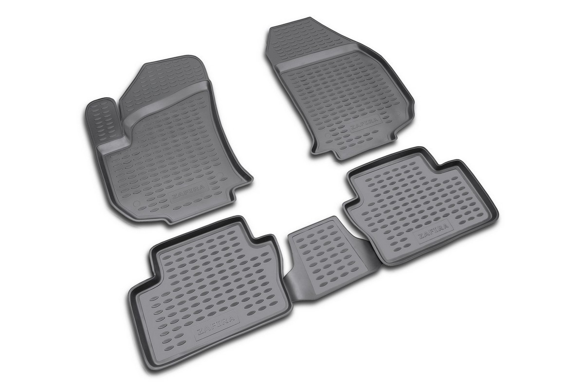 Набор автомобильных ковриков Novline-Autofamily для Opel Zafira 2005-, в салон, 4 шт98298130Набор автомобильных ковриков Novline-Autofamily, изготовленный из полиуретана, состоит из 4 ковриков, которые учитывают все особенности каждой модели автомобиля и полностью повторяют контуры пола. Полиуретановые автомобильные коврики для салона произведены из высококачественного материала, который держит форму, прочный и не пачкает обувь. Коврики в салон не только улучшат внешний вид салона вашего автомобиля, но и надежно уберегут его от пыли, грязи и сырости, а значит, защитят кузов от коррозии. Полиуретановые коврики для автомобиля гладкие, приятные и не пропускают влагу. Ковры для автомобилей надежно крепятся на полу и не скользят, что очень важно во время движения. Чистятся коврики очень просто: как при помощи автомобильного пылесоса, так и различными моющими средствами. Набор подходит для Opel Zafira с 2005 года выпуска.