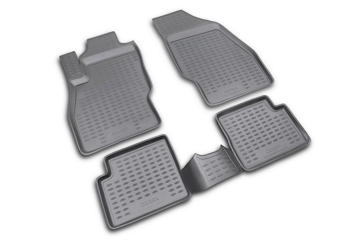 Набор автомобильных ковриков Novline-Autofamily для Opel Corsa 2006-, в салон, 4 штVT-1520(SR)Набор автомобильных ковриков Novline-Autofamily, изготовленный из полиуретана, состоит из 4 ковриков, которые учитывают все особенности каждой модели автомобиля и полностью повторяют контуры пола. Полиуретановые автомобильные коврики для салона произведены из высококачественного материала, который держит форму, прочный и не пачкает обувь. Коврики в салон не только улучшат внешний вид салона вашего автомобиля, но и надежно уберегут его от пыли, грязи и сырости, а значит, защитят кузов от коррозии. Полиуретановые коврики для автомобиля гладкие, приятные и не пропускают влагу. Ковры для автомобилей надежно крепятся на полу и не скользят, что очень важно во время движения. Чистятся коврики очень просто: как при помощи автомобильного пылесоса, так и различными моющими средствами. Набор подходит для Opel Corsa с 2006 года выпуска.