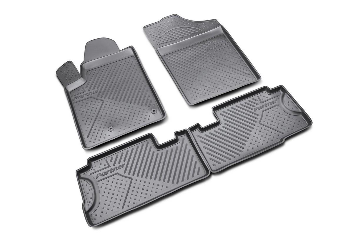 Коврики в салон автомобиля Novline-Autofamily для Peugeot Partner 06/2008 -, 4 штFS-80264Коврики Novline-Autofamily улучшат внешний вид салона автомобиля и надежно уберегут его от пыли, грязи и сырости, а значит, защитят кузов от коррозии. Полиуретановые коврики гладкие, приятные и не пропускает влагу. Полиуретановые автомобильные коврики произведены из высококачественного материала, который держит форму и не пачкает обувь. Коврики надежно крепятся на полу и не скользят, что очень важно во время движения, особенно для водителя. Изделия из полиуретана надежно удерживают грязь и влагу, при этом всегда выглядят довольно опрятно. И чистятся они очень просто: как при помощи автомобильного пылесоса, так и различными моющими средствами.