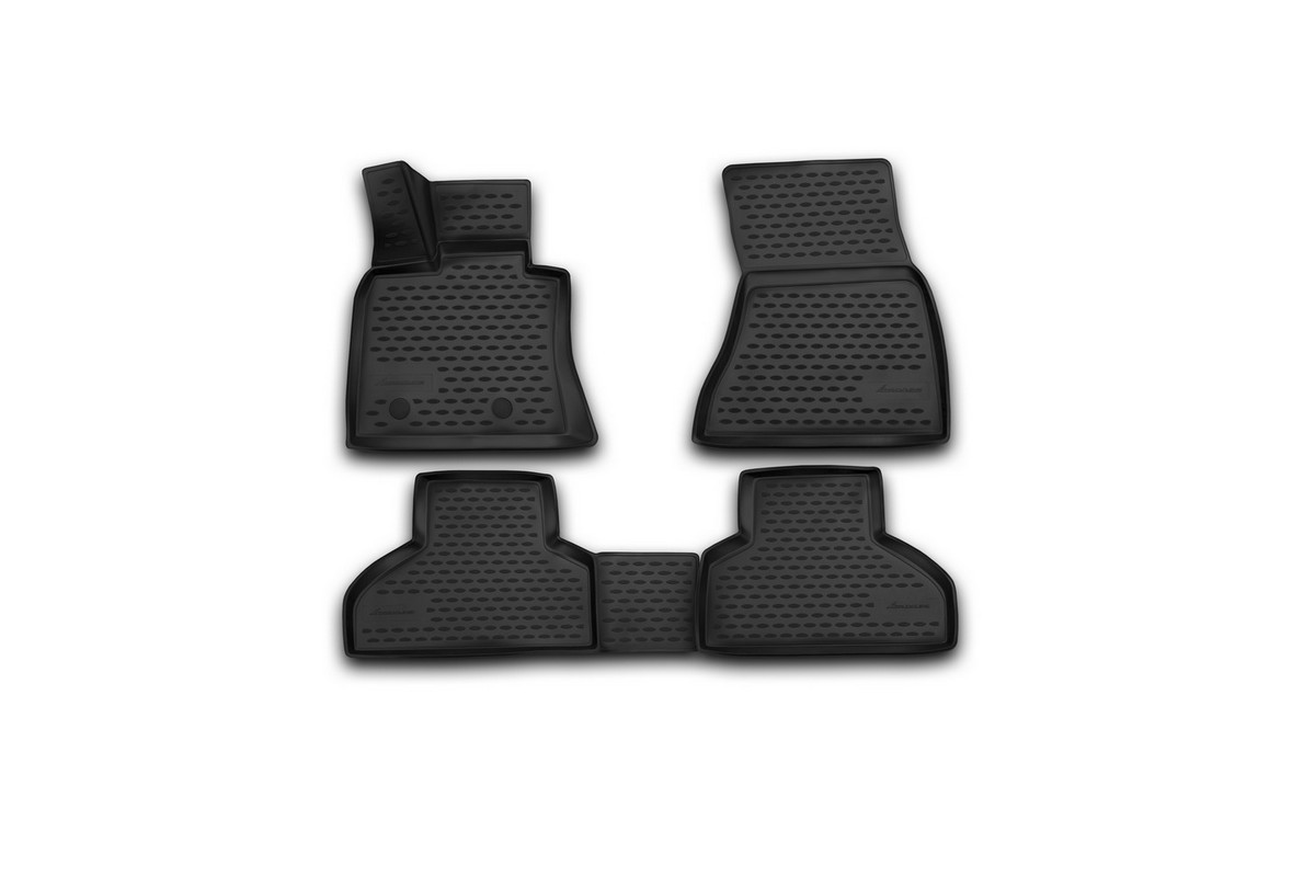Набор автомобильных 3D-ковриков Novline-Autofamily для BMW X5, 2013->, в салон, 4 штNLC.3D.05.38.210kНабор Novline-Autofamily состоит из 4 ковриков, изготовленных из полиуретана.Основная функция ковров - защита салона автомобиля от загрязнения и влаги. Это достигается за счет высоких бортов, перемычки на тоннель заднего ряда сидений, элементов формы и текстуры, свойств материала, а также запатентованной технологией 3D-перемычки в зоне отдыха ноги водителя, что обеспечивает дополнительную защиту, сохраняя салон автомобиля в первозданном виде.Материал, из которого сделаны коврики, обладает антискользящими свойствами. Для фиксации ковров в салоне автомобиля в комплекте с ними используются специальные крепежи. Форма передней части водительского ковра, уходящая под педаль акселератора, исключает нештатное заедание педалей.Набор подходит для BMW X5 с 2013 года выпуска.