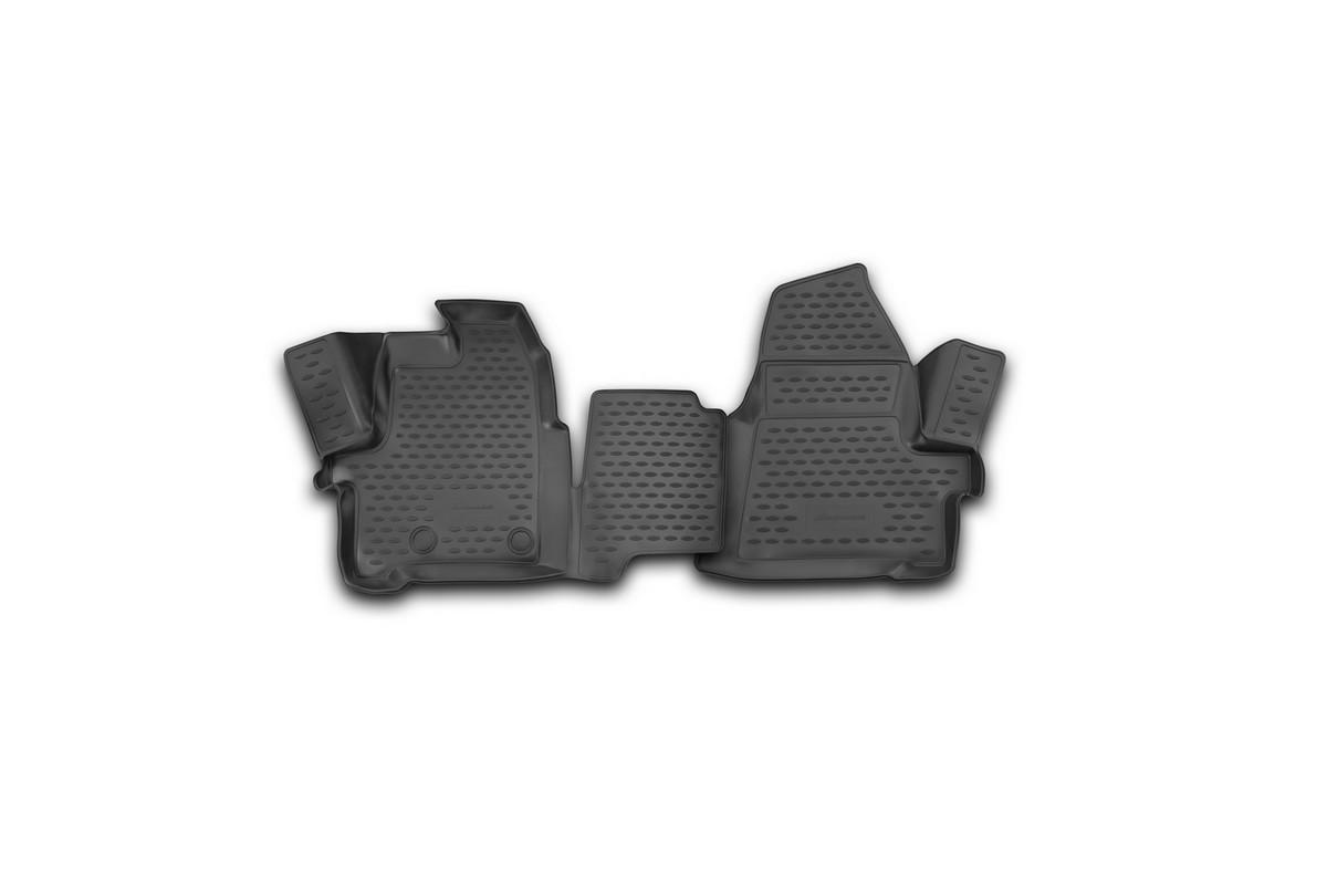 Набор автомобильных 3D-ковриков Novline-Autofamily для Ford Transit, 2014->, в салон, 2 шт21395599Набор Novline-Autofamily состоит из 2 ковриков, изготовленных из полиуретана.Основная функция ковров - защита салона автомобиля от загрязнения и влаги. Это достигается за счет высоких бортов, перемычки на тоннель заднего ряда сидений, элементов формы и текстуры, свойств материала, а также запатентованной технологией 3D-перемычки в зоне отдыха ноги водителя, что обеспечивает дополнительную защиту, сохраняя салон автомобиля в первозданном виде.Материал, из которого сделаны коврики, обладает антискользящими свойствами. Для фиксации ковров в салоне автомобиля в комплекте с ними используются специальные крепежи. Форма передней части водительского ковра, уходящая под педаль акселератора, исключает нештатное заедание педалей.Набор подходит для Ford Transit с 2014 года выпуска.