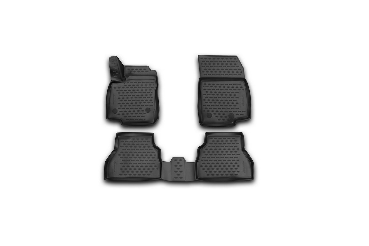 Набор автомобильных 3D-ковриков Novline-Autofamily для Ford B-max, 2014->, хэтчбек, в салон, 4 штВетерок 2ГФНабор Novline-Autofamily состоит из 4 ковриков, изготовленных из полиуретана.Основная функция ковров - защита салона автомобиля от загрязнения и влаги. Это достигается за счет высоких бортов, перемычки на тоннель заднего ряда сидений, элементов формы и текстуры, свойств материала, а также запатентованной технологией 3D-перемычки в зоне отдыха ноги водителя, что обеспечивает дополнительную защиту, сохраняя салон автомобиля в первозданном виде.Материал, из которого сделаны коврики, обладает антискользящими свойствами. Для фиксации ковров в салоне автомобиля в комплекте с ними используются специальные крепежи. Форма передней части водительского ковра, уходящая под педаль акселератора, исключает нештатное заедание педалей.Набор подходит для Ford B-max хэтчбек с 2014 года выпуска.