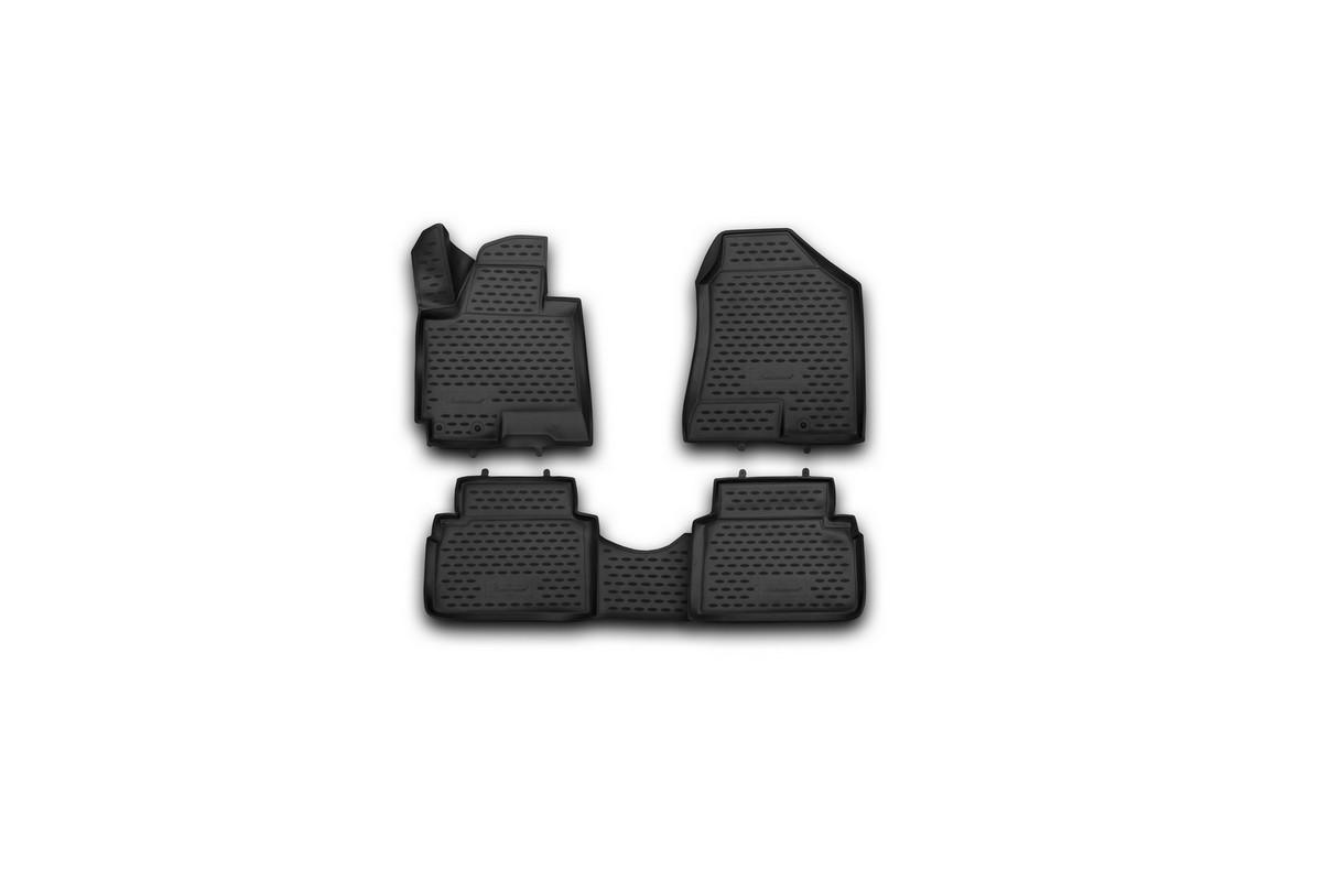 Набор автомобильных 3D-ковриков Novline-Autofamily для Hyundai ix35, 2010->, в салон, 4 штF0156110LAНабор Novline-Autofamily состоит из 4 ковриков, изготовленных из полиуретана.Основная функция ковров - защита салона автомобиля от загрязнения и влаги. Это достигается за счет высоких бортов, перемычки на тоннель заднего ряда сидений, элементов формы и текстуры, свойств материала, а также запатентованной технологией 3D-перемычки в зоне отдыха ноги водителя, что обеспечивает дополнительную защиту, сохраняя салон автомобиля в первозданном виде.Материал, из которого сделаны коврики, обладает антискользящими свойствами. Для фиксации ковров в салоне автомобиля в комплекте с ними используются специальные крепежи. Форма передней части водительского ковра, уходящая под педаль акселератора, исключает нештатное заедание педалей.Набор подходит для Hyundai ix35 с 2010 года выпуска.