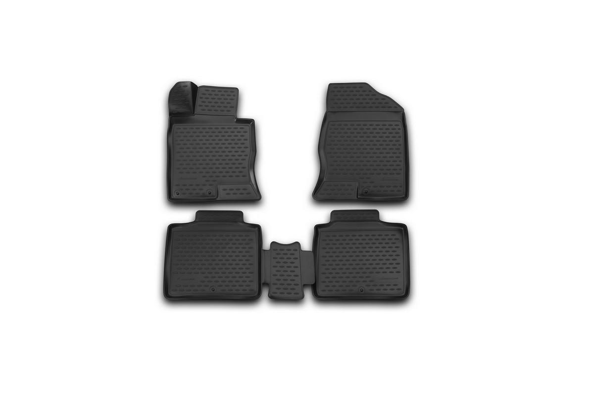 Набор автомобильных 3D-ковриков Novline-Autofamily для Hyundai Grandeur, 2012->, в салон, 4 штАксион Т-33Набор Novline-Autofamily состоит из 4 ковриков, изготовленных из полиуретана.Основная функция ковров - защита салона автомобиля от загрязнения и влаги. Это достигается за счет высоких бортов, перемычки на тоннель заднего ряда сидений, элементов формы и текстуры, свойств материала, а также запатентованной технологией 3D-перемычки в зоне отдыха ноги водителя, что обеспечивает дополнительную защиту, сохраняя салон автомобиля в первозданном виде.Материал, из которого сделаны коврики, обладает антискользящими свойствами. Для фиксации ковров в салоне автомобиля в комплекте с ними используются специальные крепежи. Форма передней части водительского ковра, уходящая под педаль акселератора, исключает нештатное заедание педалей.Набор подходит для Hyundai Grandeur с 2012 года выпуска.