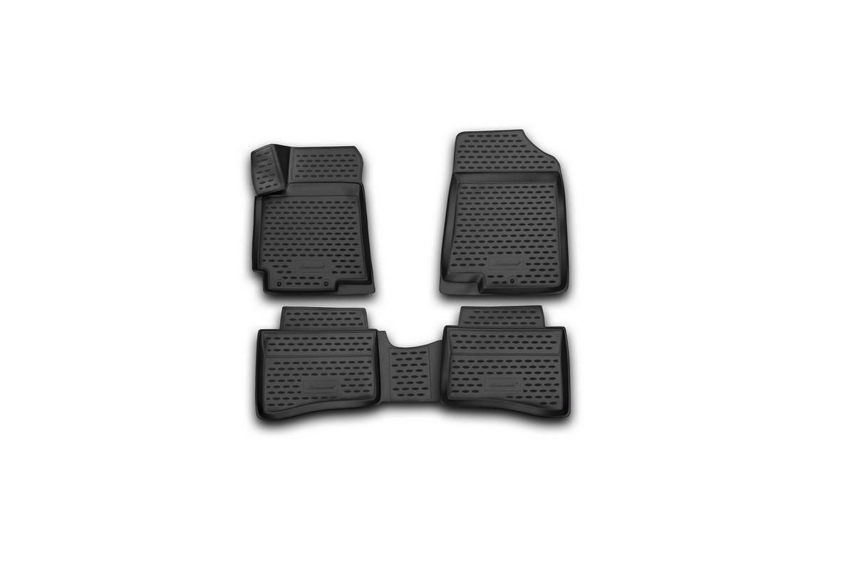 Набор автомобильных 3D-ковриков Novline-Autofamily для Hyundai Solaris, 2014->, седан, хэтчбек, в салон, 4 штАксион Т-33Набор Novline-Autofamily состоит из 4 ковриков, изготовленных из полиуретана.Основная функция ковров - защита салона автомобиля от загрязнения и влаги. Это достигается за счет высоких бортов, перемычки на тоннель заднего ряда сидений, элементов формы и текстуры, свойств материала, а также запатентованной технологией 3D-перемычки в зоне отдыха ноги водителя, что обеспечивает дополнительную защиту, сохраняя салон автомобиля в первозданном виде.Материал, из которого сделаны коврики, обладает антискользящими свойствами. Для фиксации ковров в салоне автомобиля в комплекте с ними используются специальные крепежи. Форма передней части водительского ковра, уходящая под педаль акселератора, исключает нештатное заедание педалей.Набор подходит для Hyundai Solaris седан, хэтчбек с 2014 года выпуска.