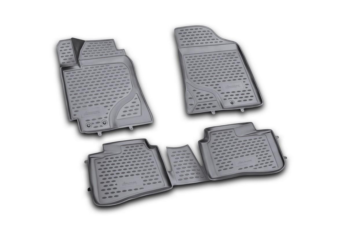 Набор автомобильных 3D-ковриков Novline-Autofamily для Kia Cerato, 2009-2013, в салон, 4 штВетерок 2ГФНабор Novline-Autofamily состоит из 4 ковриков, изготовленных из полиуретана.Основная функция ковров - защита салона автомобиля от загрязнения и влаги. Это достигается за счет высоких бортов, перемычки на тоннель заднего ряда сидений, элементов формы и текстуры, свойств материала, а также запатентованной технологией 3D-перемычки в зоне отдыха ноги водителя, что обеспечивает дополнительную защиту, сохраняя салон автомобиля в первозданном виде.Материал, из которого сделаны коврики, обладает антискользящими свойствами. Для фиксации ковров в салоне автомобиля в комплекте с ними используются специальные крепежи. Форма передней части водительского ковра, уходящая под педаль акселератора, исключает нештатное заедание педалей.Набор подходит для Kia Cerato 2009-2013 года выпуска.
