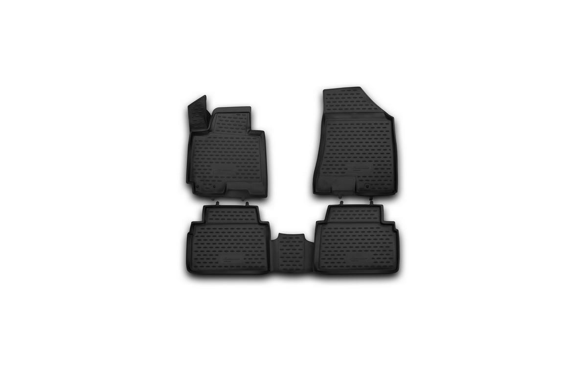 Набор автомобильных 3D-ковриков Novline-Autofamily для Kia Sportage, 2010->, в салон, 4 штNLC.3D.41.19.212kНабор Novline-Autofamily состоит из 4 ковриков, изготовленных из полиуретана.Основная функция ковров - защита салона автомобиля от загрязнения и влаги. Это достигается за счет высоких бортов, перемычки на тоннель заднего ряда сидений, элементов формы и текстуры, свойств материала, а также запатентованной технологией 3D-перемычки в зоне отдыха ноги водителя, что обеспечивает дополнительную защиту, сохраняя салон автомобиля в первозданном виде.Материал, из которого сделаны коврики, обладает антискользящими свойствами. Для фиксации ковров в салоне автомобиля в комплекте с ними используются специальные крепежи. Форма передней части водительского ковра, уходящая под педаль акселератора, исключает нештатное заедание педалей.Набор подходит для Kia Sportage с 2010 года выпуска.