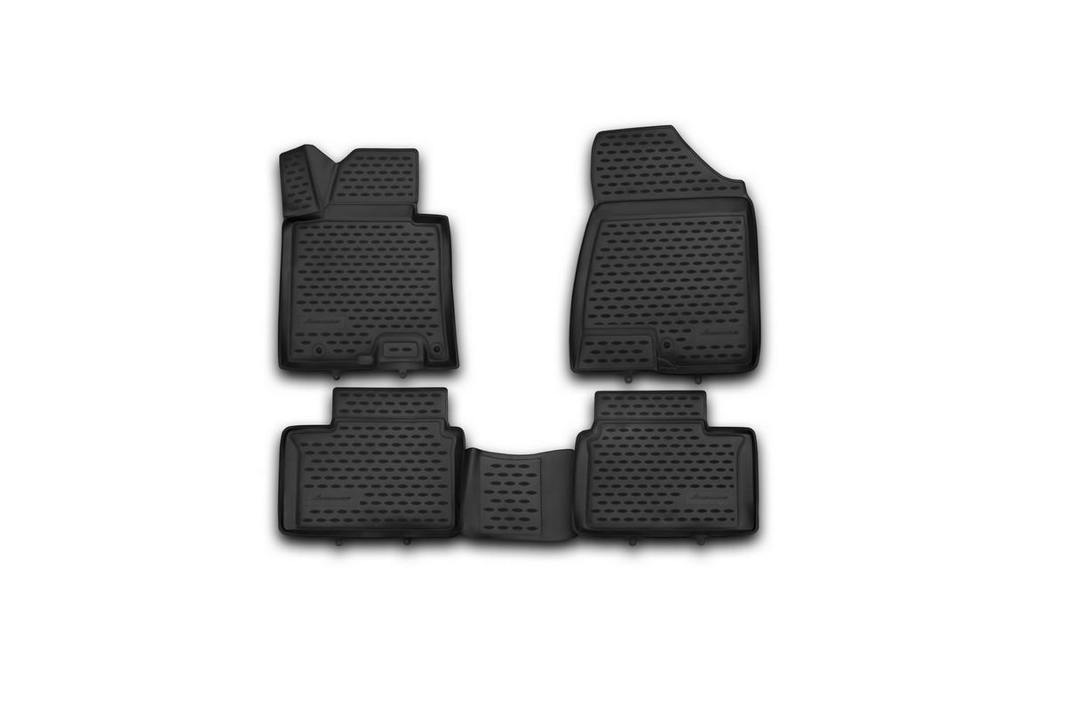 Набор автомобильных 3D-ковриков Novline-Autofamily для Kia Pro Ceed, 2013->, в салон, 4 штВетерок 2ГФНабор Novline-Autofamily состоит из 4 ковриков, изготовленных из полиуретана.Основная функция ковров - защита салона автомобиля от загрязнения и влаги. Это достигается за счет высоких бортов, перемычки на тоннель заднего ряда сидений, элементов формы и текстуры, свойств материала, а также запатентованной технологией 3D-перемычки в зоне отдыха ноги водителя, что обеспечивает дополнительную защиту, сохраняя салон автомобиля в первозданном виде.Материал, из которого сделаны коврики, обладает антискользящими свойствами. Для фиксации ковров в салоне автомобиля в комплекте с ними используются специальные крепежи. Форма передней части водительского ковра, уходящая под педаль акселератора, исключает нештатное заедание педалей.Набор подходит для Kia Pro Ceed с 2013 года выпуска.