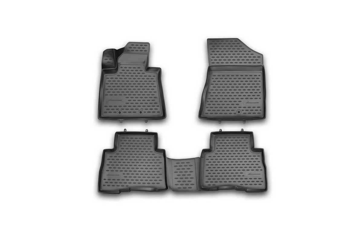 Набор автомобильных 3D-ковриков Novline-Autofamily для Kia Sorento, 2012->, в салон, 4 штCARFRD00019kНабор Novline-Autofamily состоит из 4 ковриков, изготовленных из полиуретана.Основная функция ковров - защита салона автомобиля от загрязнения и влаги. Это достигается за счет высоких бортов, перемычки на тоннель заднего ряда сидений, элементов формы и текстуры, свойств материала, а также запатентованной технологией 3D-перемычки в зоне отдыха ноги водителя, что обеспечивает дополнительную защиту, сохраняя салон автомобиля в первозданном виде.Материал, из которого сделаны коврики, обладает антискользящими свойствами. Для фиксации ковров в салоне автомобиля в комплекте с ними используются специальные крепежи. Форма передней части водительского ковра, уходящая под педаль акселератора, исключает нештатное заедание педалей.Набор подходит для Kia Sorento с 2012 года выпуска.